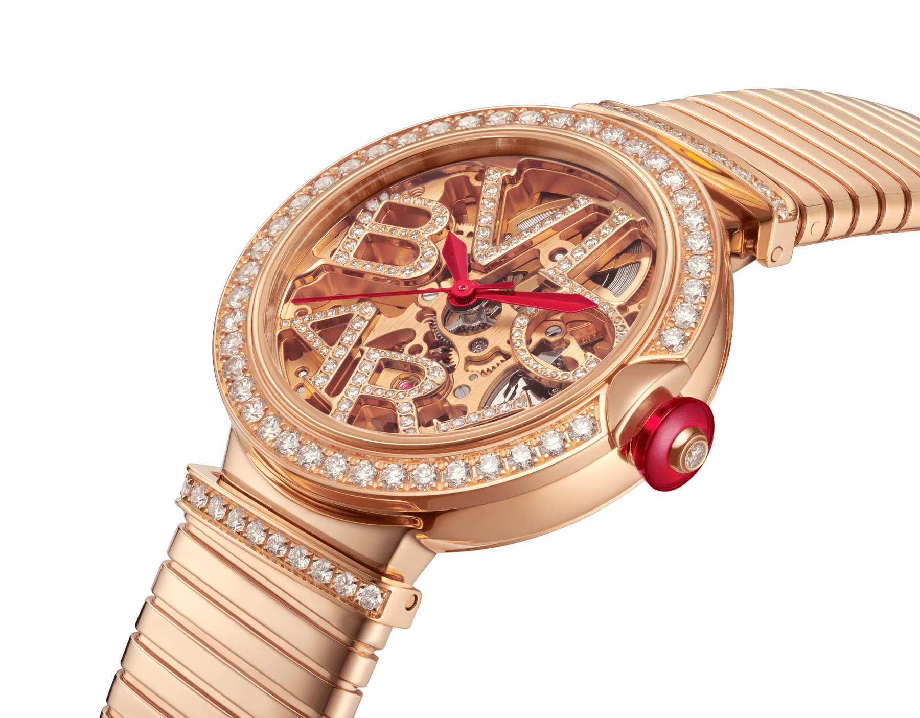 LVCEA Skeleton watch with mechanical manufacture movement, automatic winding and skeleton execution, 18 kt rose gold case, 18kt rose gold bezel set with diamonds, 18 kt rose gold openwork BVLGARI logo dial set with round brilliant-cut diamonds, red hands and 18 kt rose gold tubogas bracelet. Exclusive Edition for the United States 103134 image 2