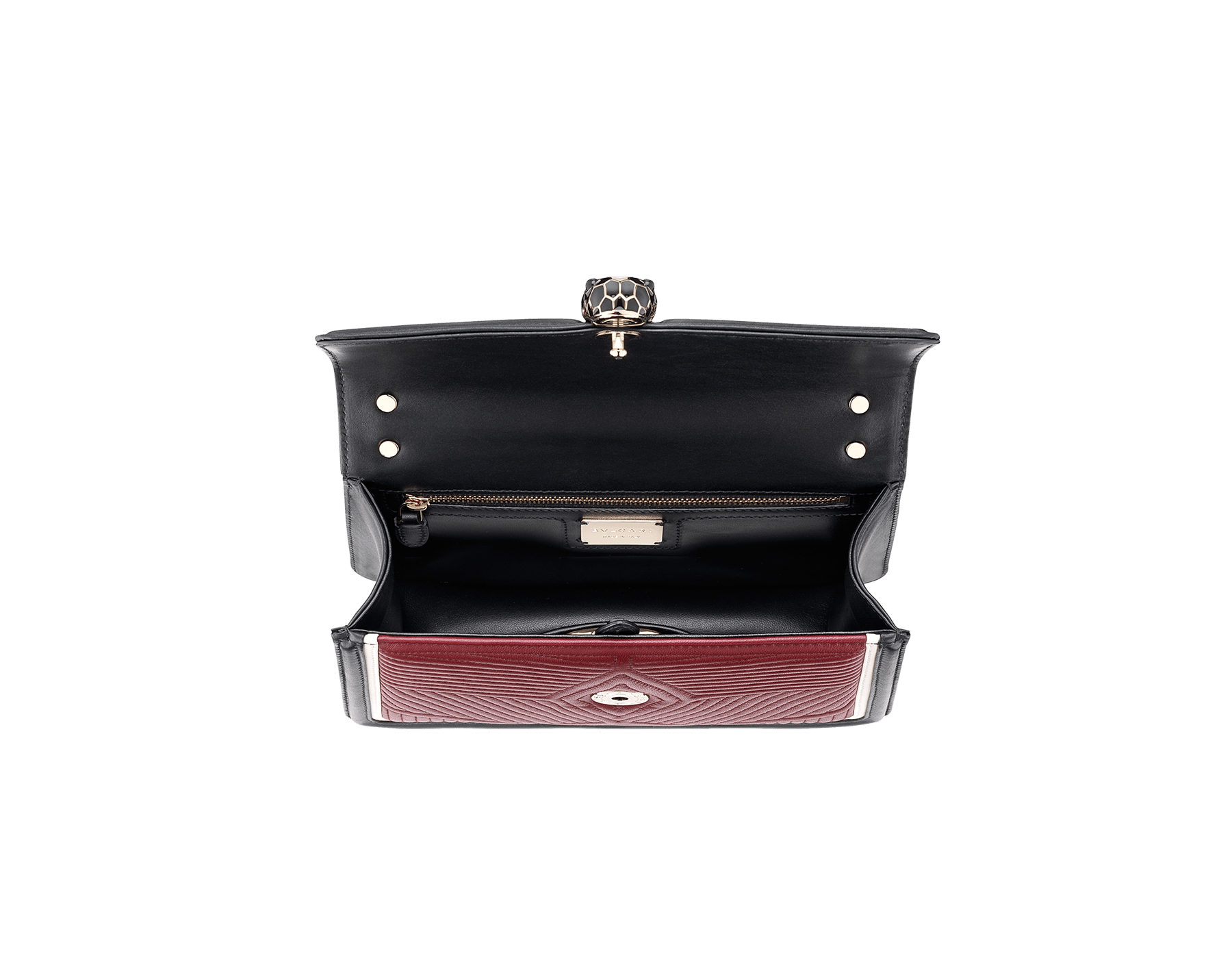 Shoulder bag Serpenti Forever featuring a Framed Quilted motif in roman garnet nappa and black smooth calf leather. Brass light gold plated tempting snake head closure in black and white enamel, with eyes in black onyx. 286628 image 5