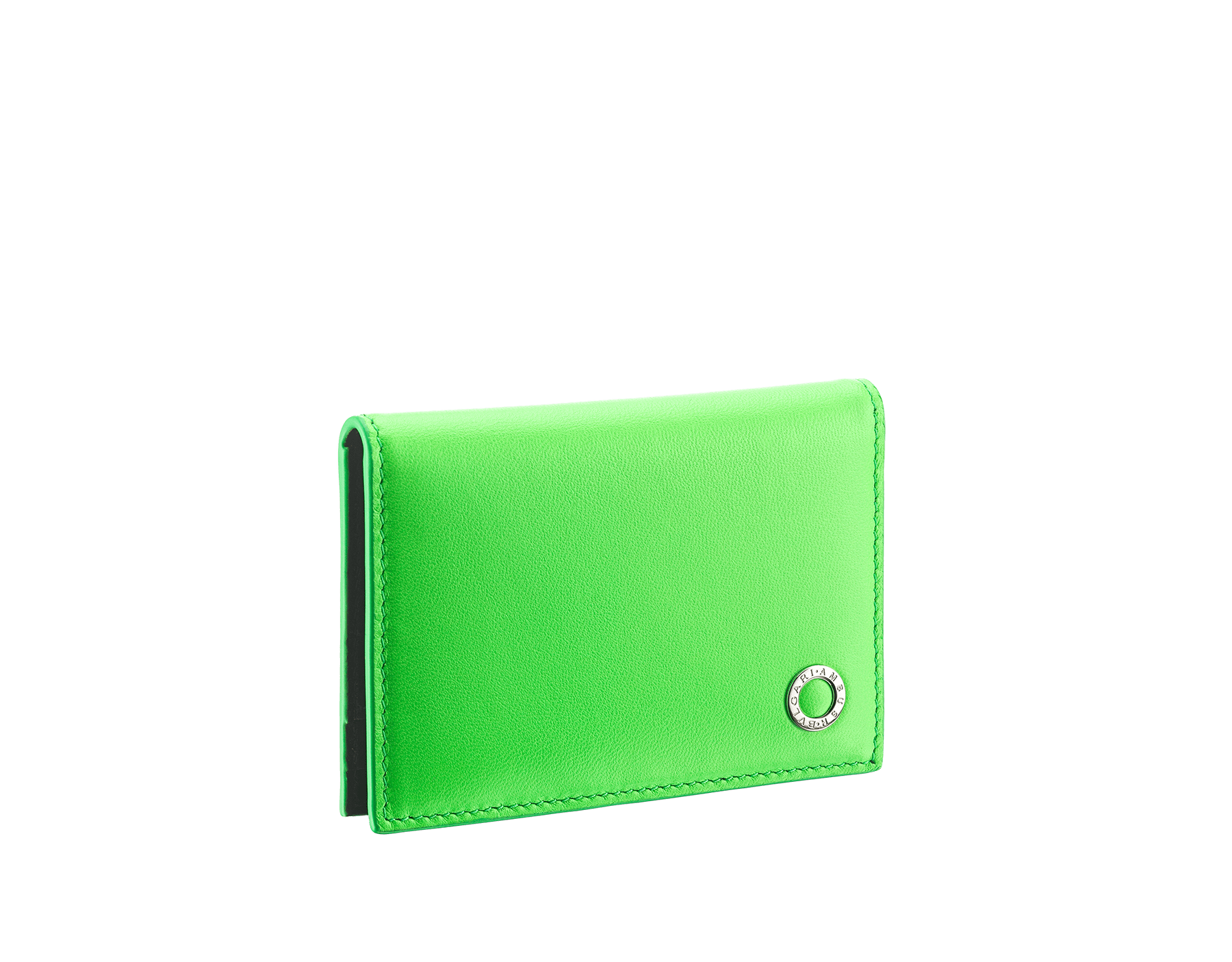 """Ambush x Bvlgari"" vertical card holder in bright green and black nappa leather, palladium-plated brass ""BVLGARI AMBUSH"" décor on one side and special ""BVLGARI AMBUSH"" logo print on the other. Limited Edition. 290359 image 1"