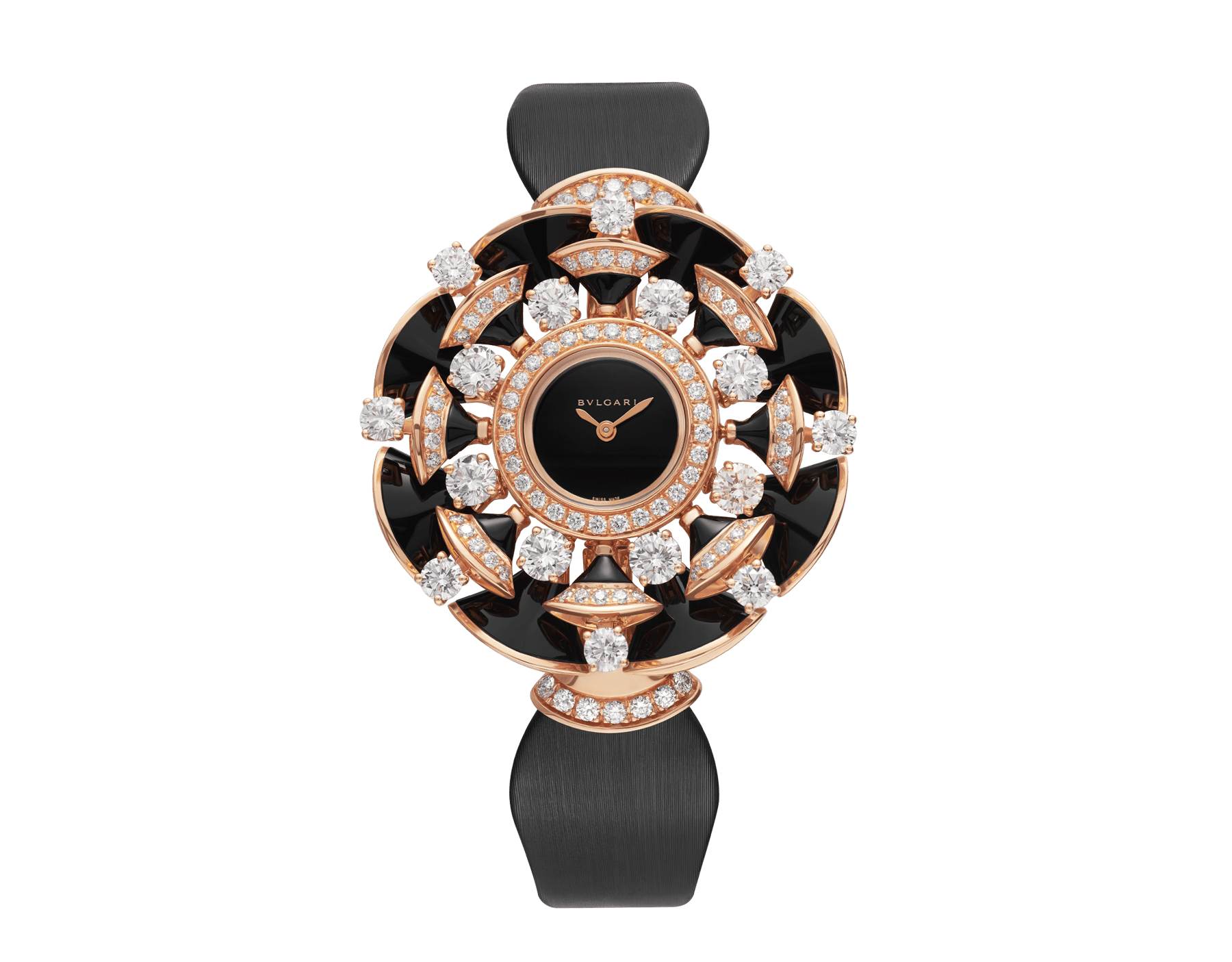 DIVAS' DREAM watch with 18 kt rose gold case set with brilliant-cut diamonds, round-cut diamonds, and onyx elements, black lacquered dial and black satin bracelet 102216 image 1
