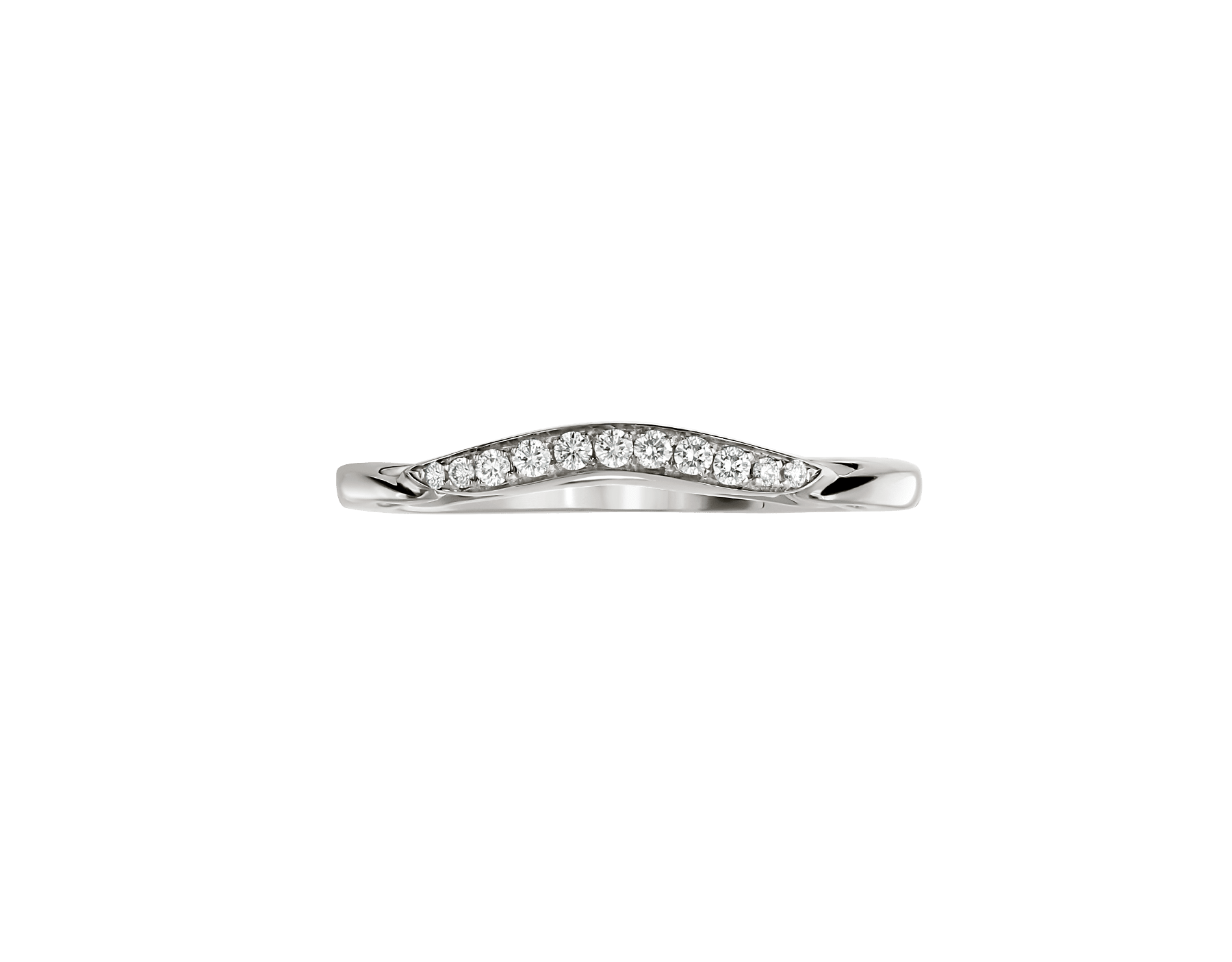 Incontro d'amore wedding band in platinum set with pavé diamonds (0.07 ct). AN858130 image 2