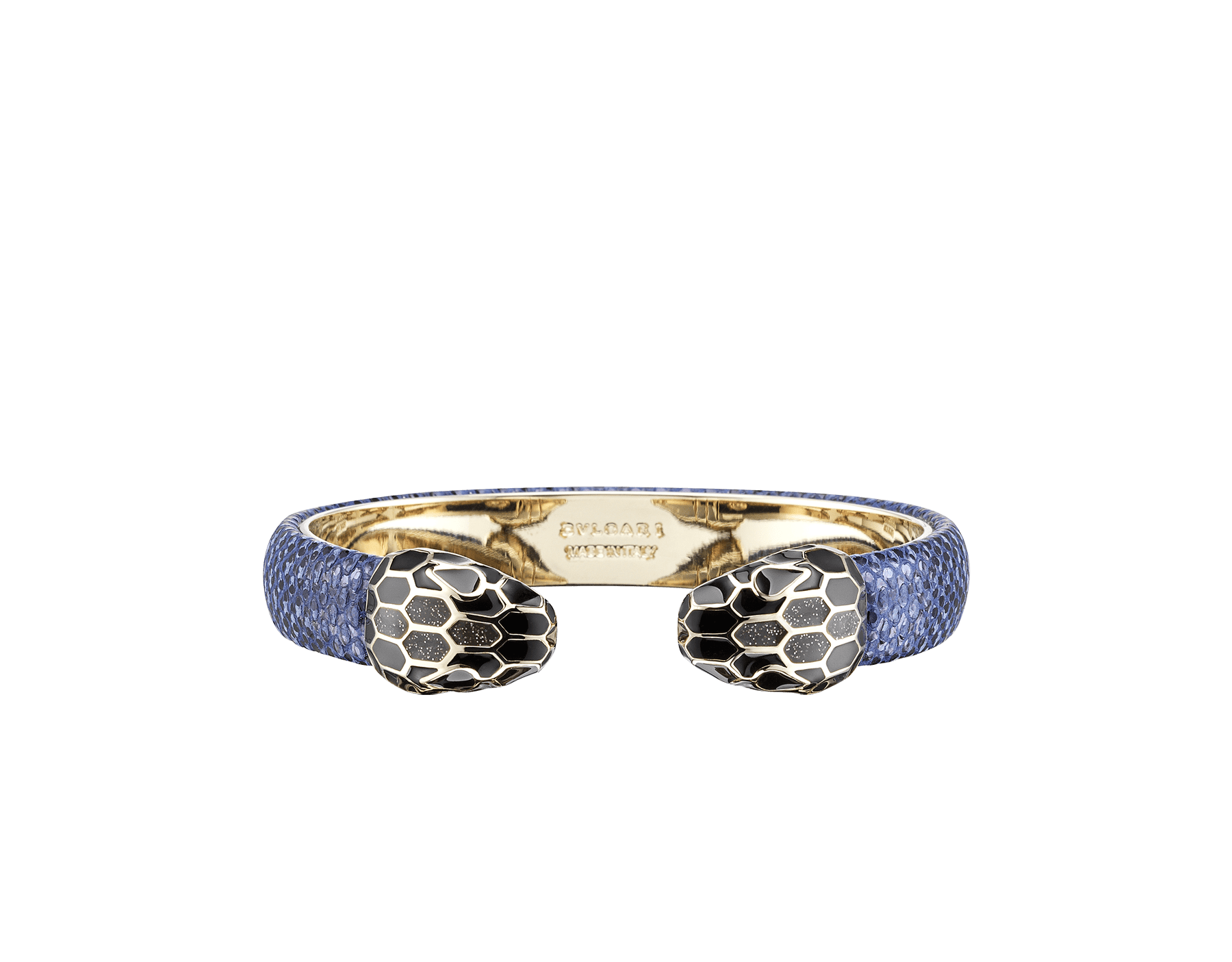 """""""Serpenti Forever"""" bangle in metallic Midnight Sapphire blue karung skin with light gold-plated brass details. Iconic face-to-face snakeheads with black and glittery Hawk's Eye grey enamel and seductive black enamel eyes. SPContr-MK-MidSapph image 1"""