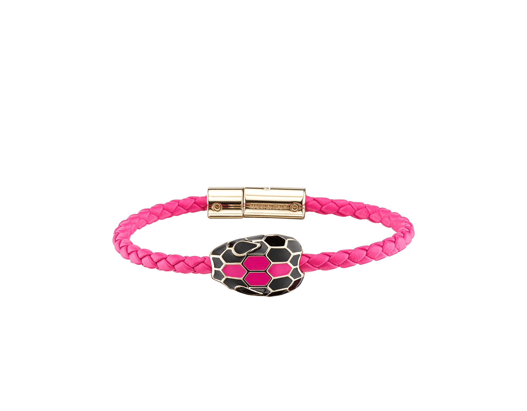 Serpenti Forever braid bracelet in flash amethyst woven calf leather with an iconic snake head décor in black and flash amethyst enamel. SerpBraid-WCL-FA image 1