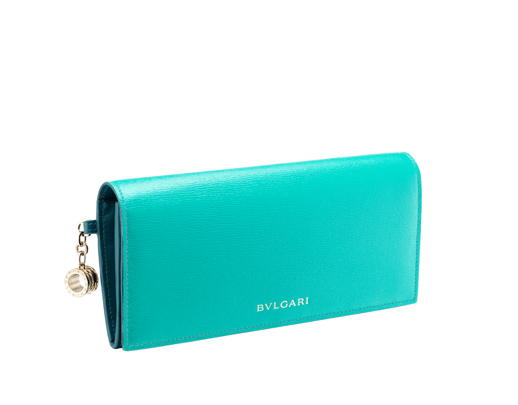 B.zero1 wallet pochette in tropical turquoise and deep jade goatskin. Iconic B.zero1 charm in light gold plated brass and closure clip. 288230 image 2