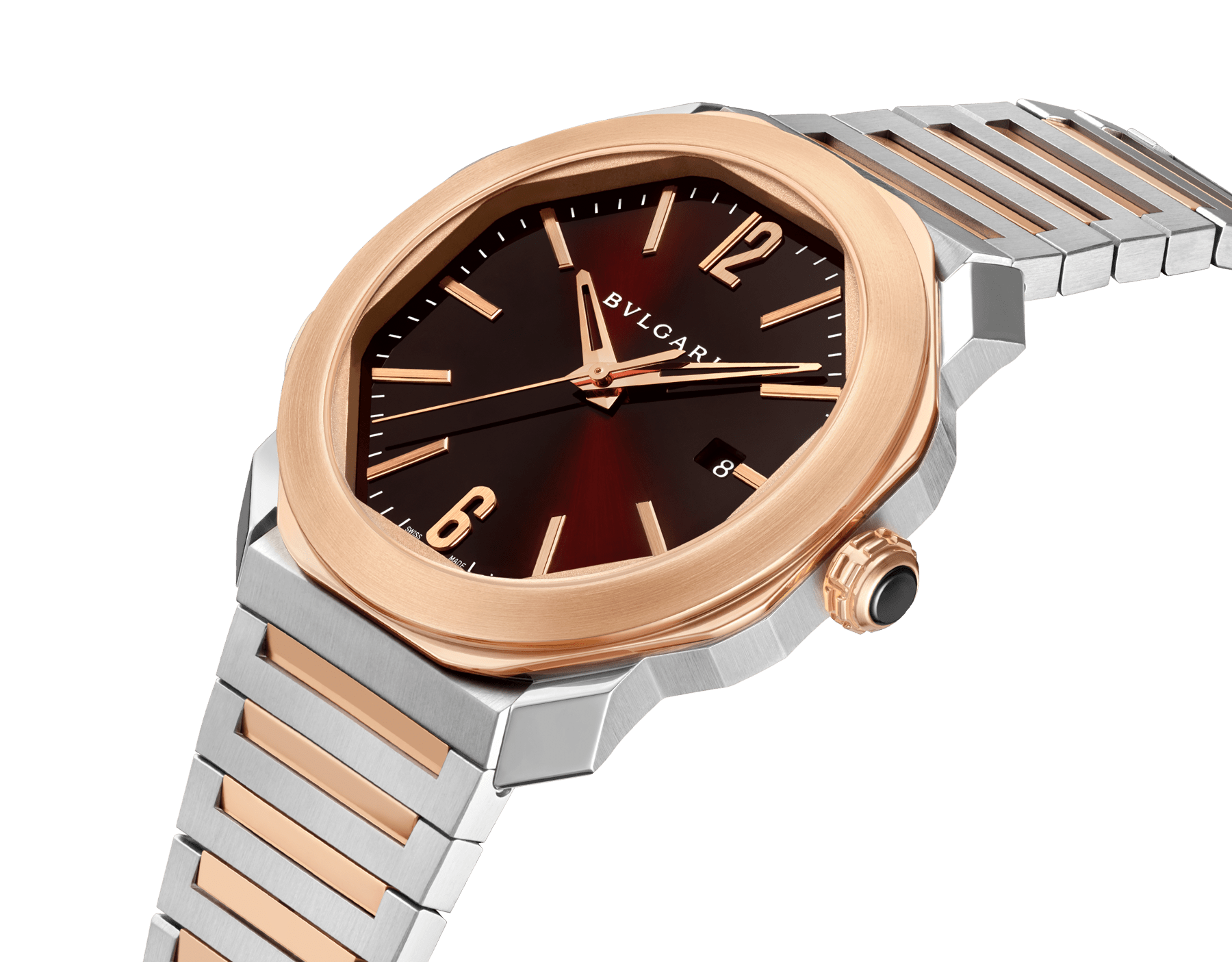 Octo Roma watch with mechanical manufacture movement, automatic winding, 18 kt rose gold and stainless steel case and bracelet, brown dial. 102854 image 2