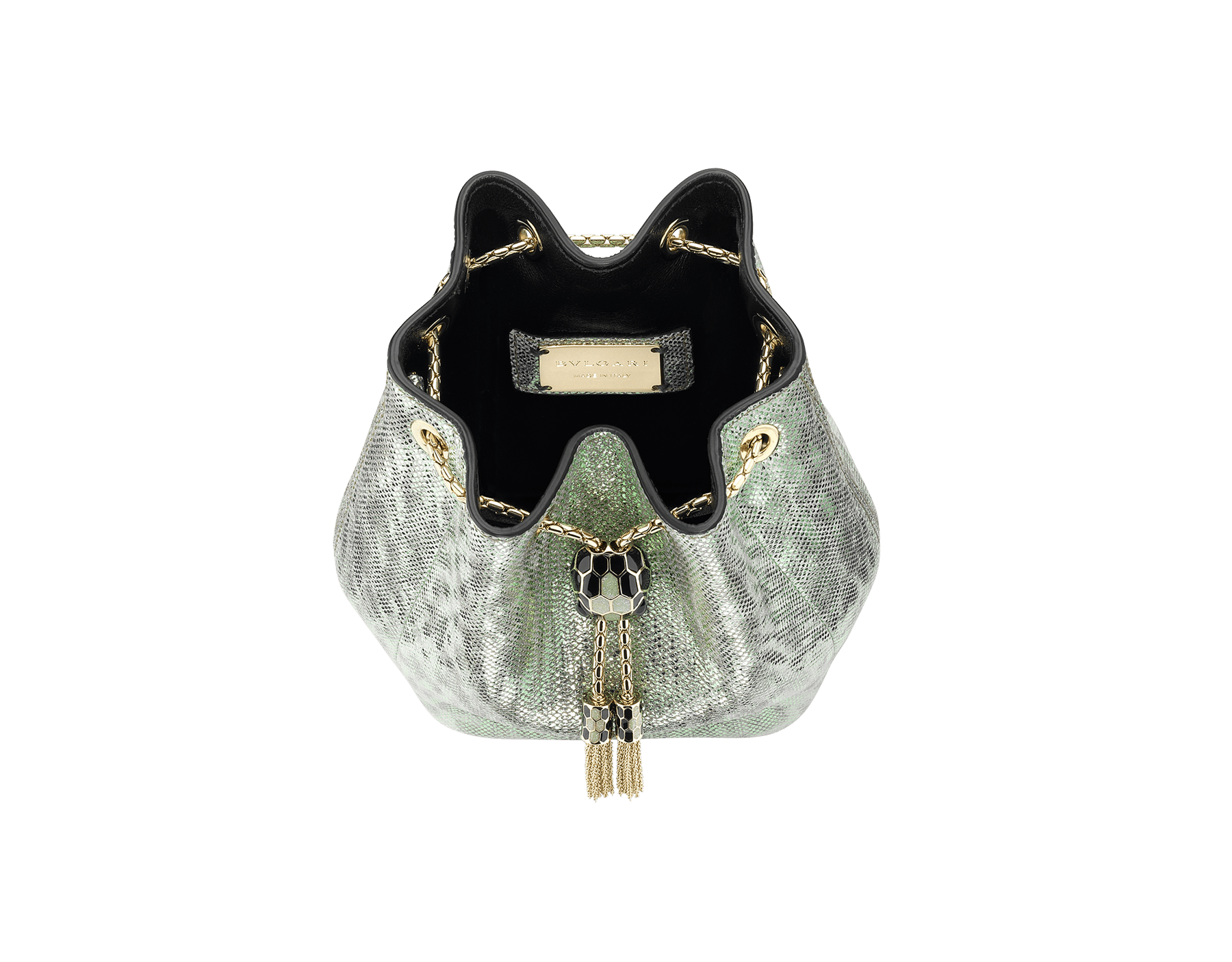 """Serpenti Forever"" micro bucket in mint metallic karung and a black nappa internal lining. Hardware in light gold plated brass and snakehead closure in black and glitter mint enamel, with eyes in black onyx. 289950 image 4"