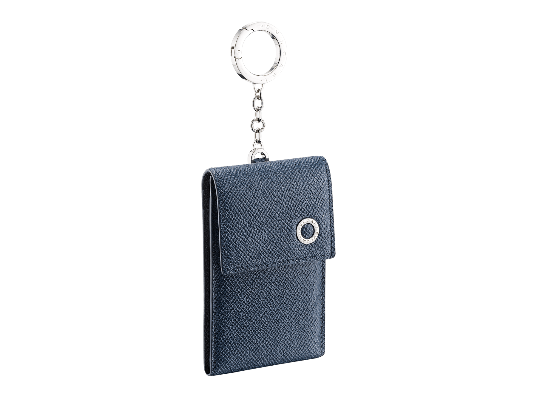 BVLGARI BVLGARI ID holder in denim sapphire and charcoal diamond grain calf leather. Iconic logo décor and snap hook in palladium plated brass. 289244 image 1