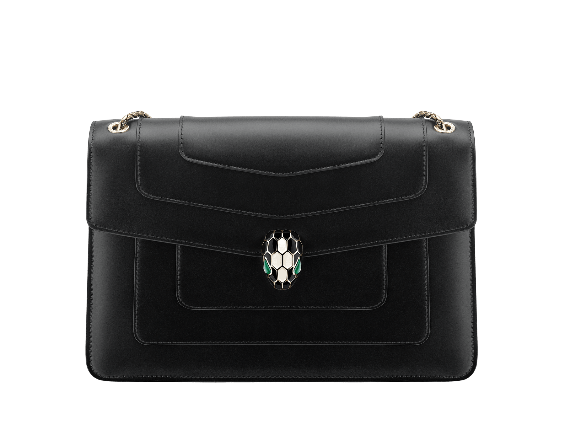 """""""Serpenti Forever"""" shoulder bag in black calf leather with emerald green gros grain internal lining. Iconic snakehead closure in light gold plated brass enriched with black and white agate enamel and green malachite eyes. 1089-Cla image 1"""