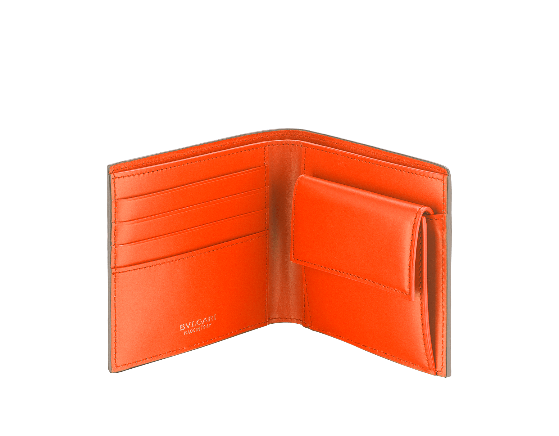 """BVLGARI BVLGARI"" compact wallet in mimetic jade soft full grain calf leather and fire amber calf leather. Iconic logo decoration in palladium plated brass coloured in fire amber enamel. BBM-WLT-ITAL-sgcl image 2"