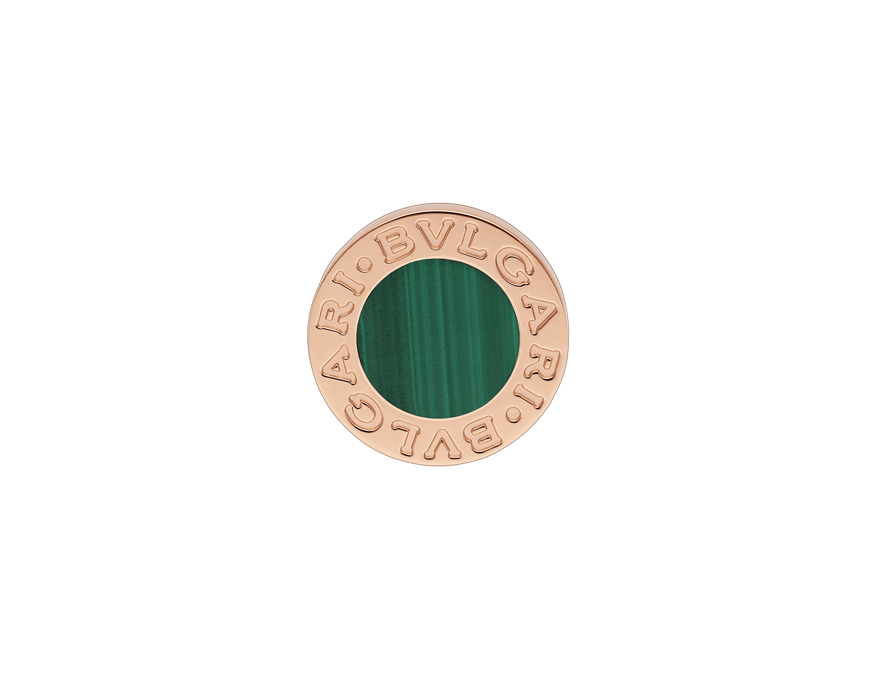 "BVLGARI BVLGARI 18 kt rose gold single stud earring with malachite. Kindly note that this product is sold as a single piece: if you wish to purchase a pair you should select quantity ""2"" 354729 image 1"