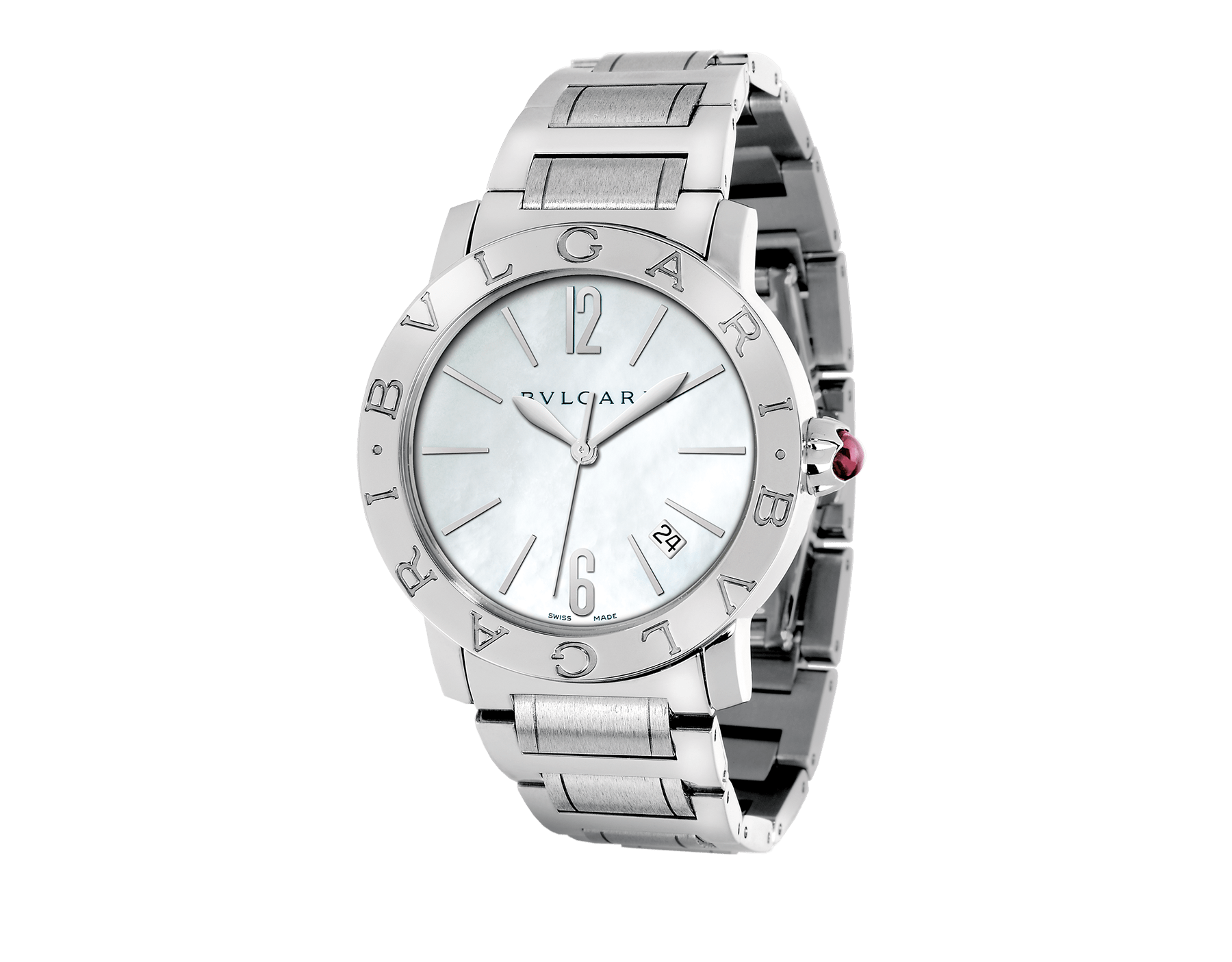 BVLGARI BVLGARI watch in stainless steel case and bracelet with white mother-of-pearl dial and date indication. Large model 101976 image 1