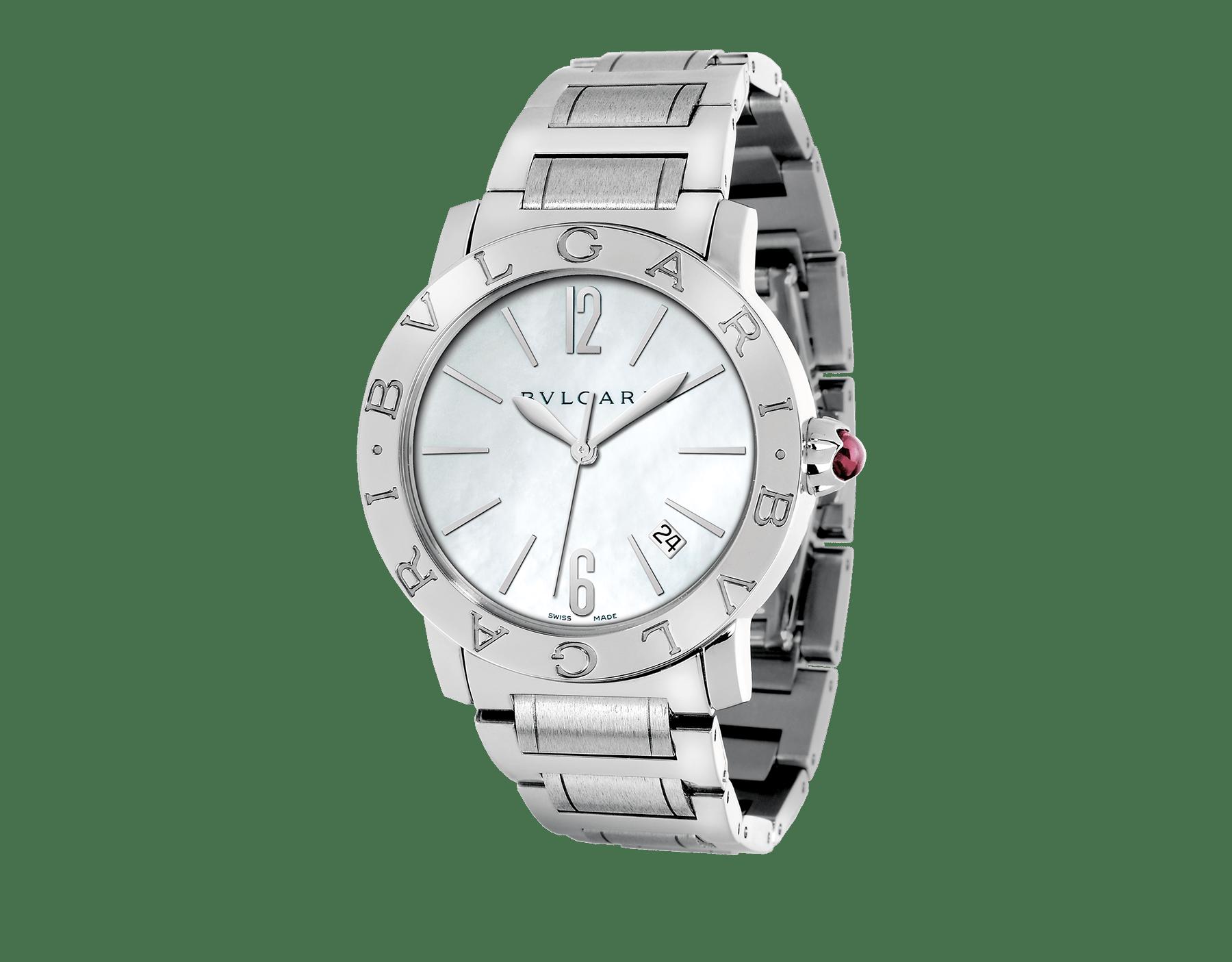 Montre BVLGARI BVLGARI avec boîtier et bracelet en acier inoxydable, cadran en nacre blanche et date. Grand modèle. 101976 image 1