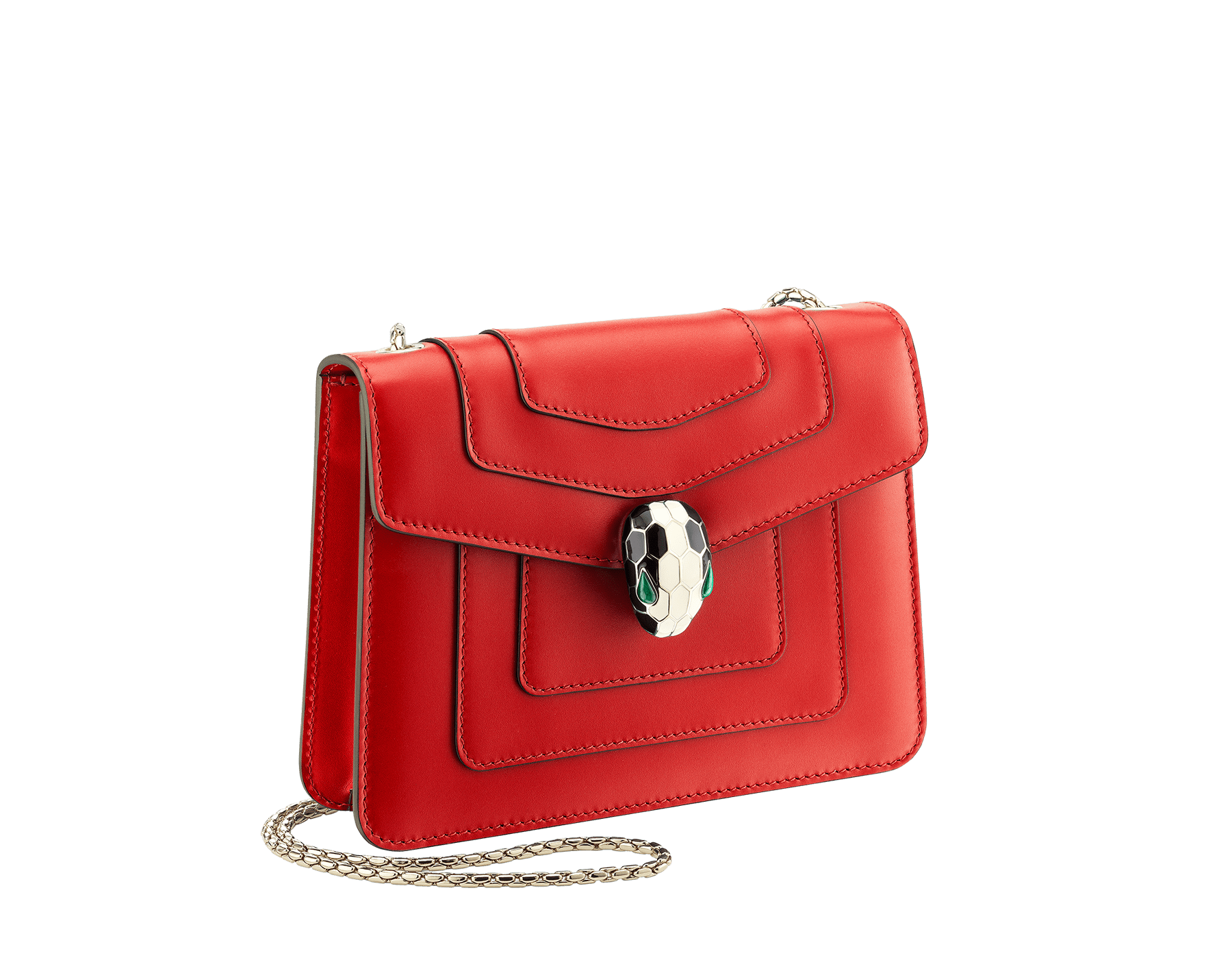 """Serpenti Forever "" crossbody bag in carmine jasper calf leather. Iconic snakehead closure in light gold plated brass enriched with black and white enamel and green malachite eyes 287013 image 2"