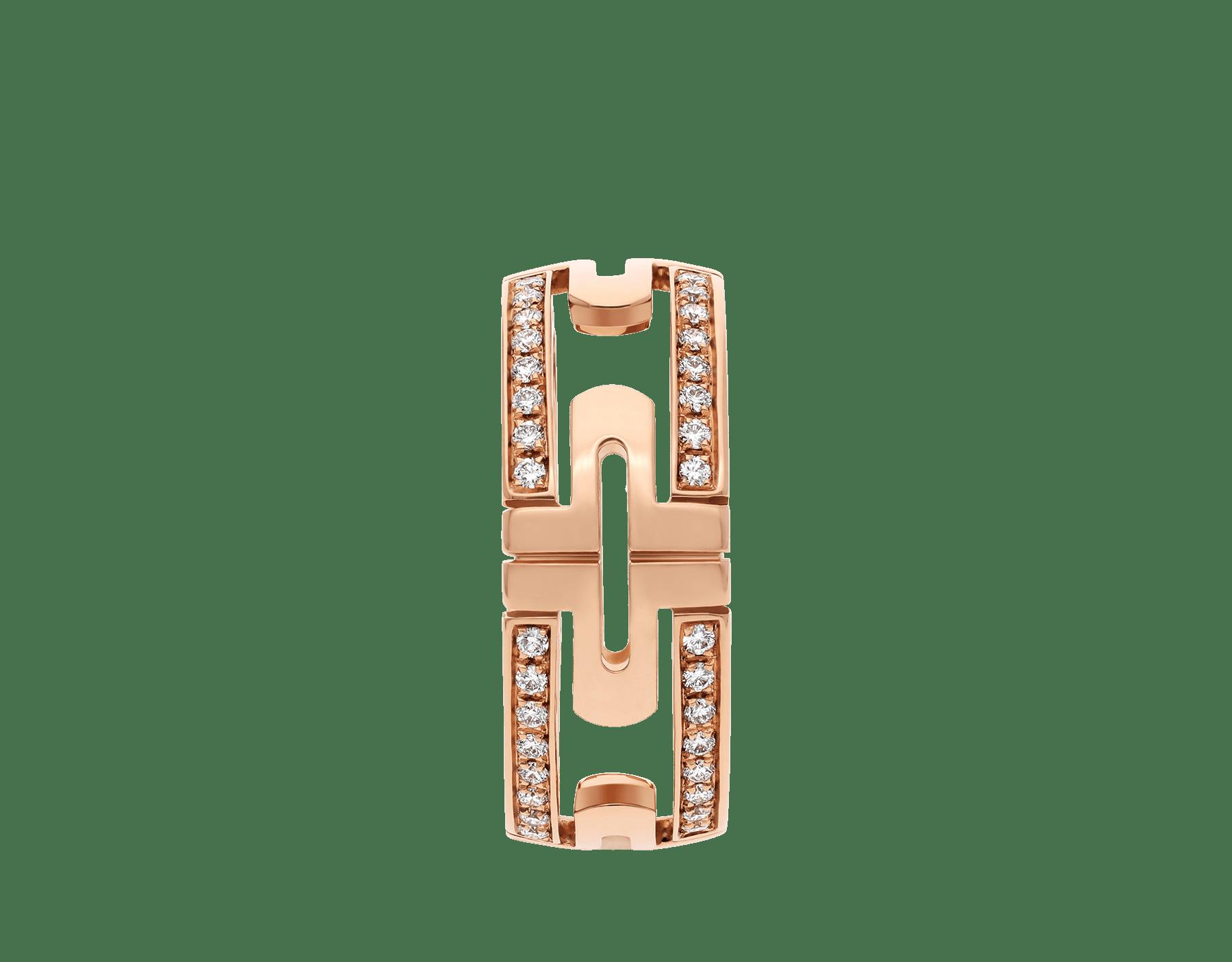 Anel Parentesi em ouro rosa 18K semicravejado com pavê de diamantes AN856914 image 2