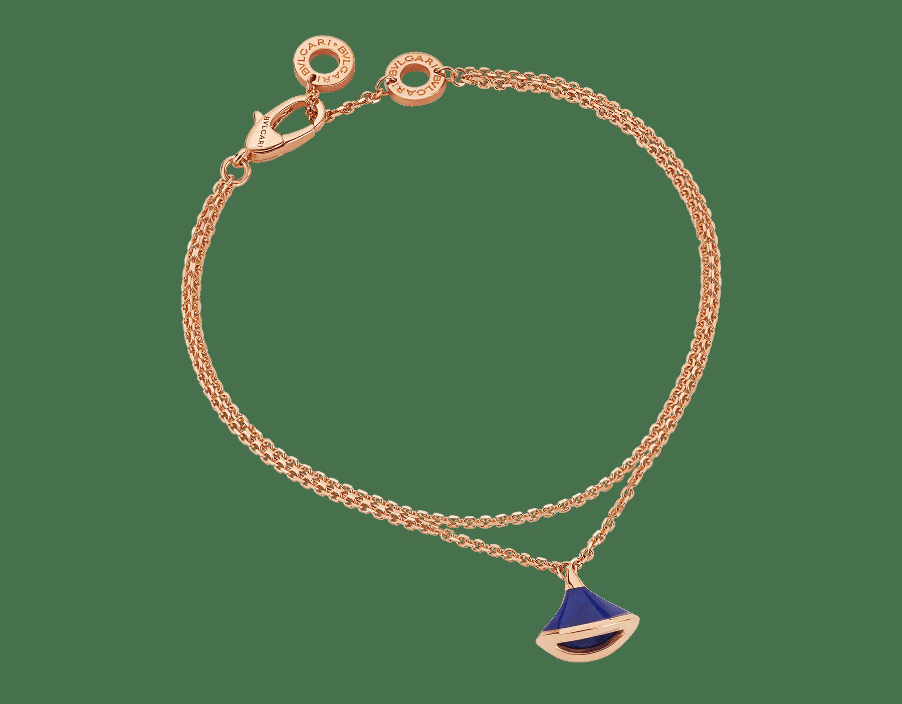 DIVAS' DREAM bracelet in 18 kt rose gold with pendant set with lapis lazuli. BR857290 image 1