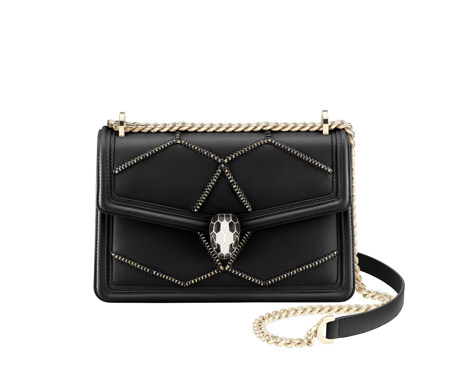 Serpenti Diamond Blast shoulder bag in white agate smooth calf leather with geometric chain motif in light gold finishing.Snakehead closure in light gold plated brass decorated with black and white enamel, and black onyx eyes. 922-NGC image 1