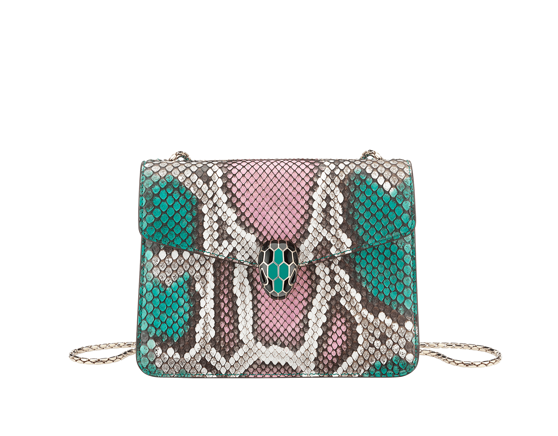 """""""Serpenti Forever"""" crossbody bag in multicolour """"Magic Chromaline"""" python skin. Iconic snakehead closure in light gold plated brass enriched with black and white enamel and black onyx eyes. 422-Pc image 1"""