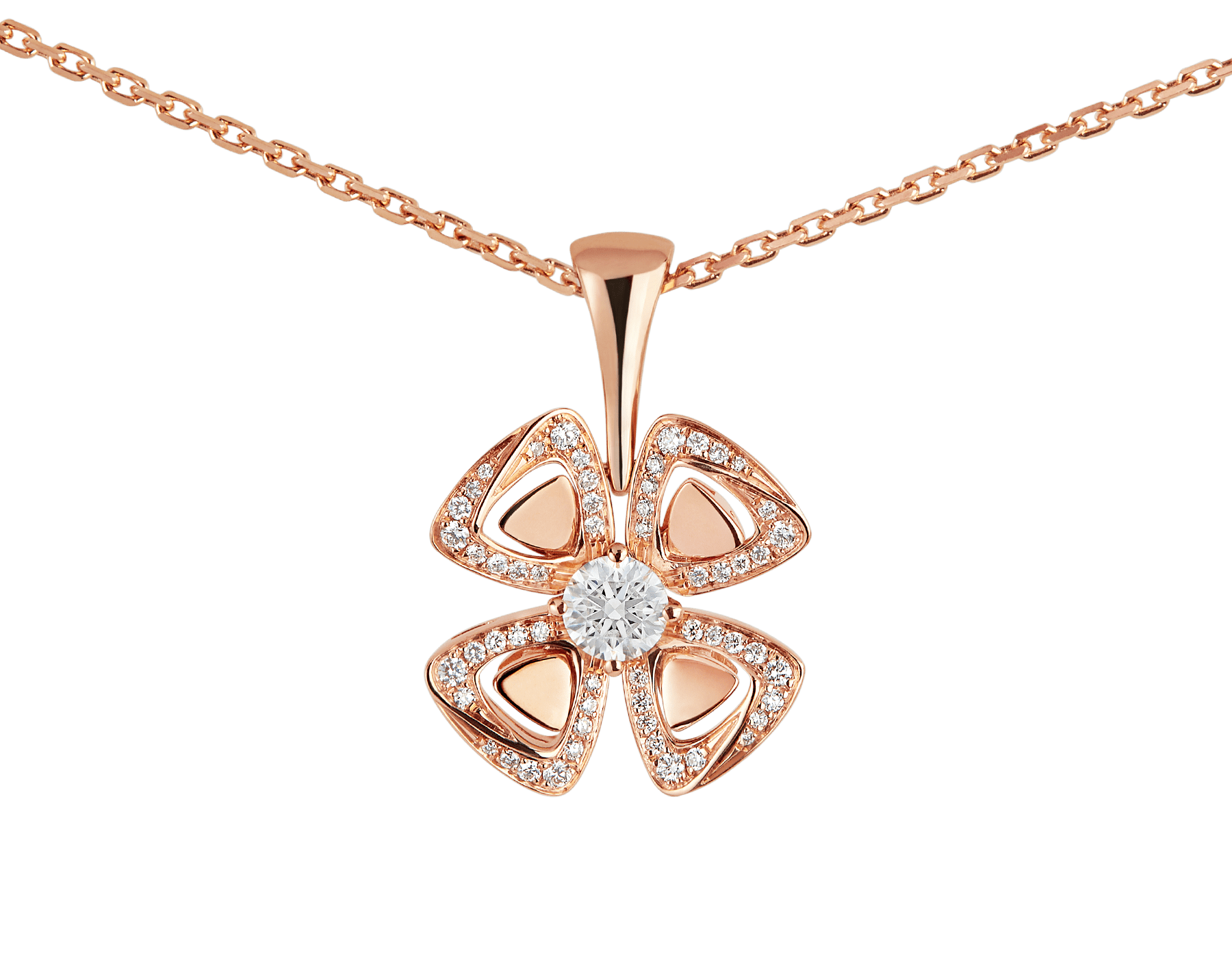 Fiorever 18 kt rose gold necklace set with a central diamond (0.20 ct) and pavé diamonds (0.18 ct) 356223 image 3