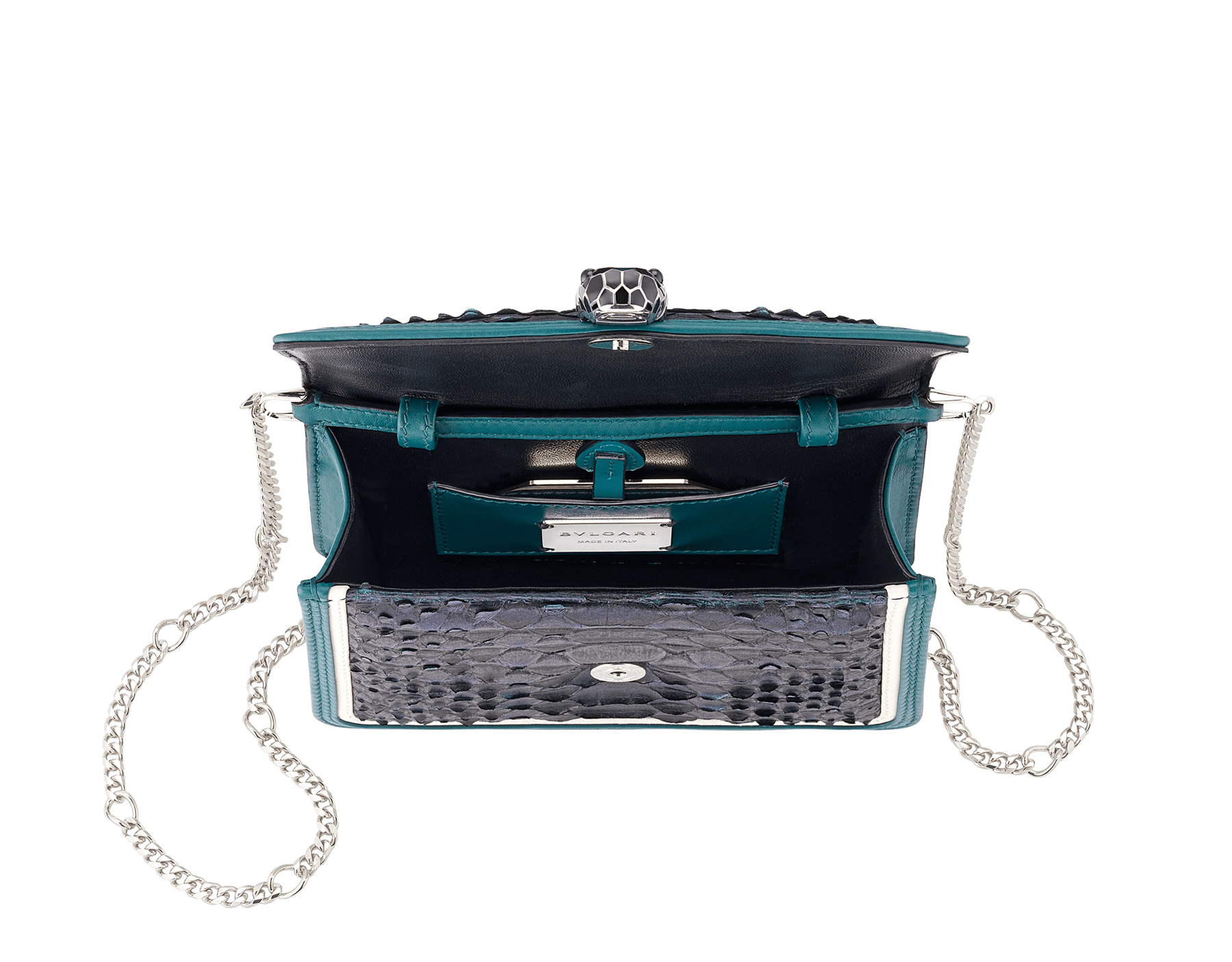 """Serpenti Diamond Blast"" crossbody micro bag in deep jade Plissé python skin body and deep jade and white calf leather frames. Iconic snakehead closure in palladium plated brass enriched with deep jade and black enamel and black onyx eyes. 288119 image 4"