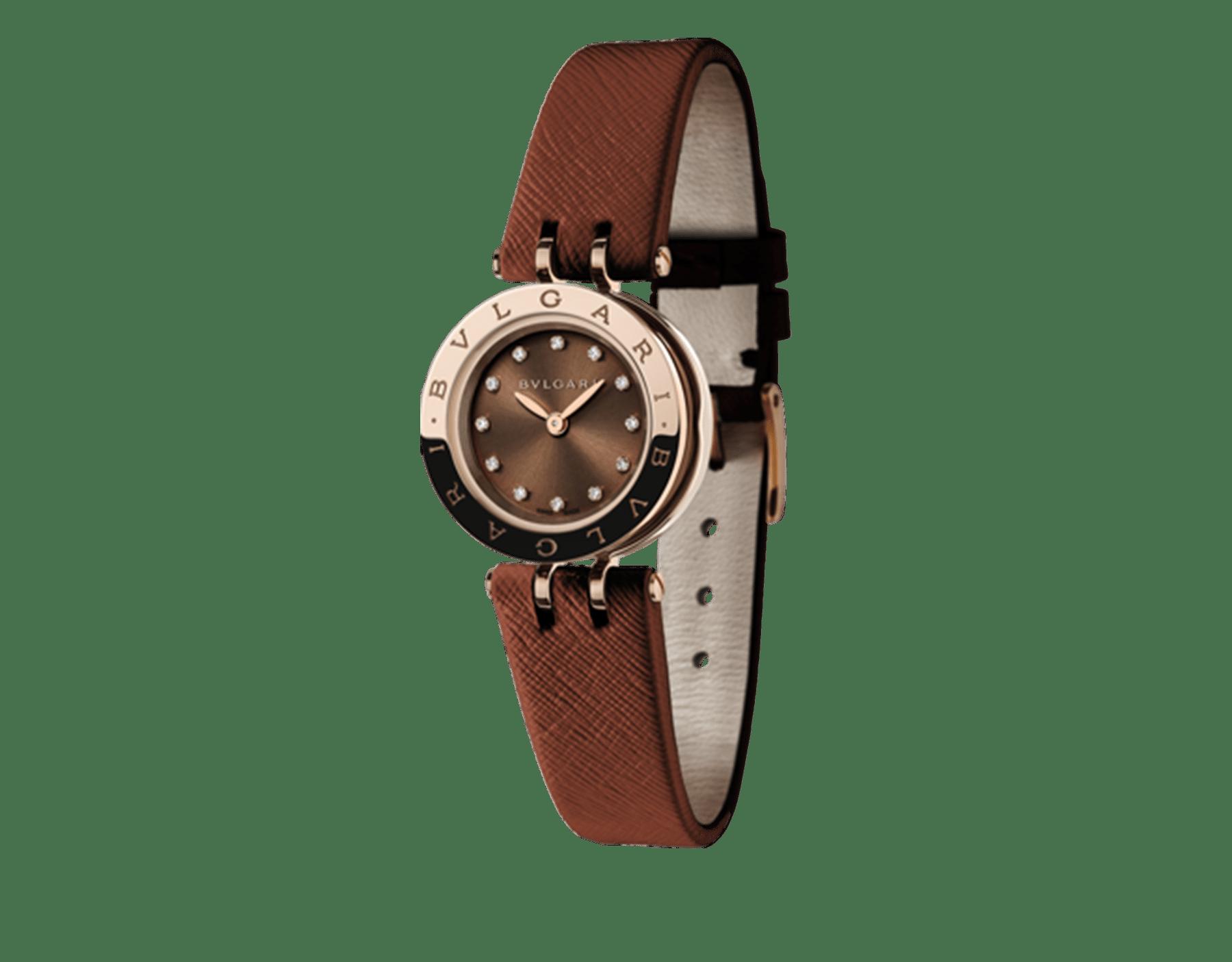 Montre B.zero1 avec boîtier en acier inoxydable et or rose 18K, spirale en PVD brun, cadran laqué brun, index sertis de diamants et bracelet en cuir de veau brun 102321 image 1