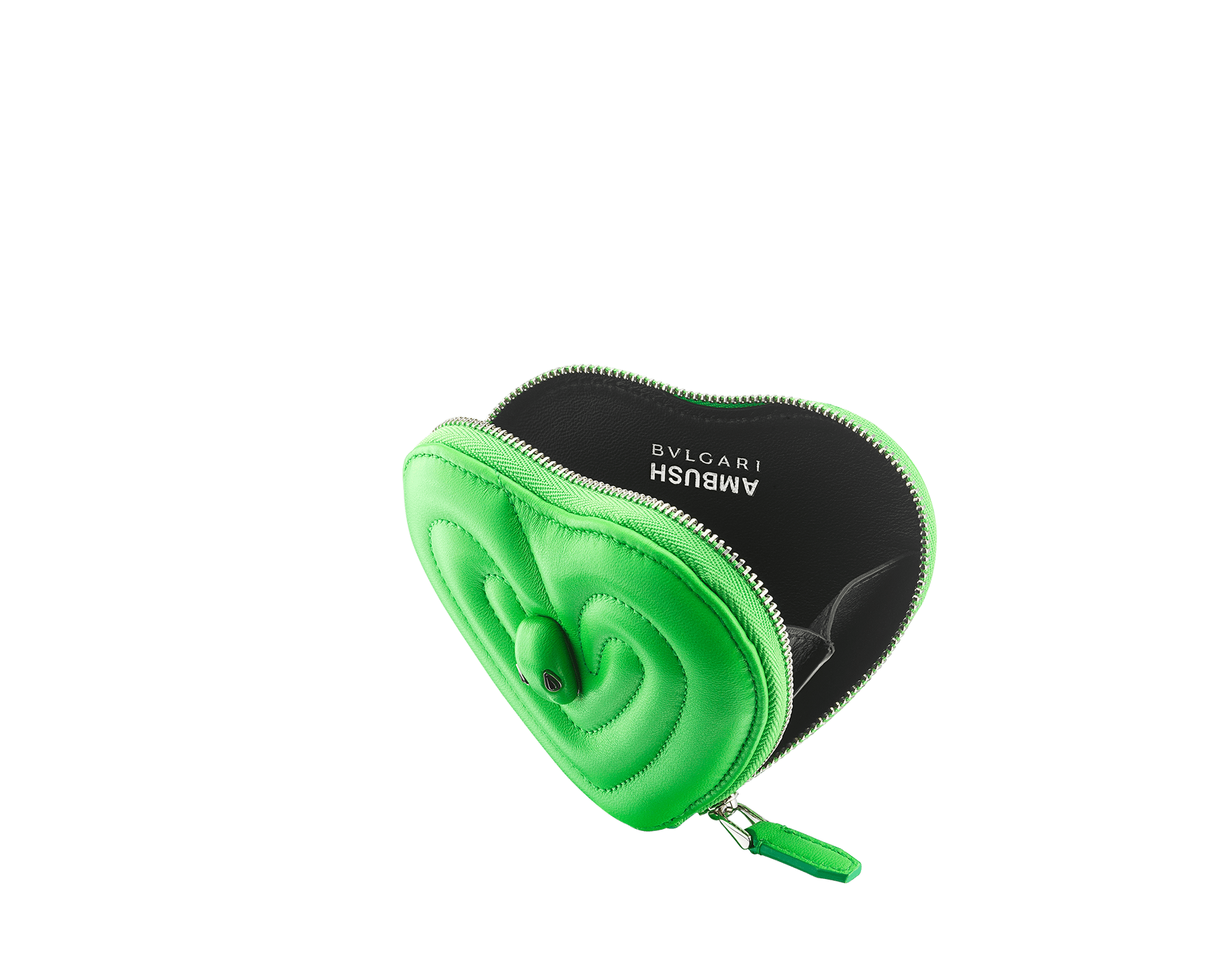 """Ambush x Bvlgari"" coin purse in bright green quilted nappa leather. New Serpenti head in palladium plated brass dressed with bright green nappa leather, finished with black onyx eyes. Limited edition. YA-HEARTCOINC image 2"