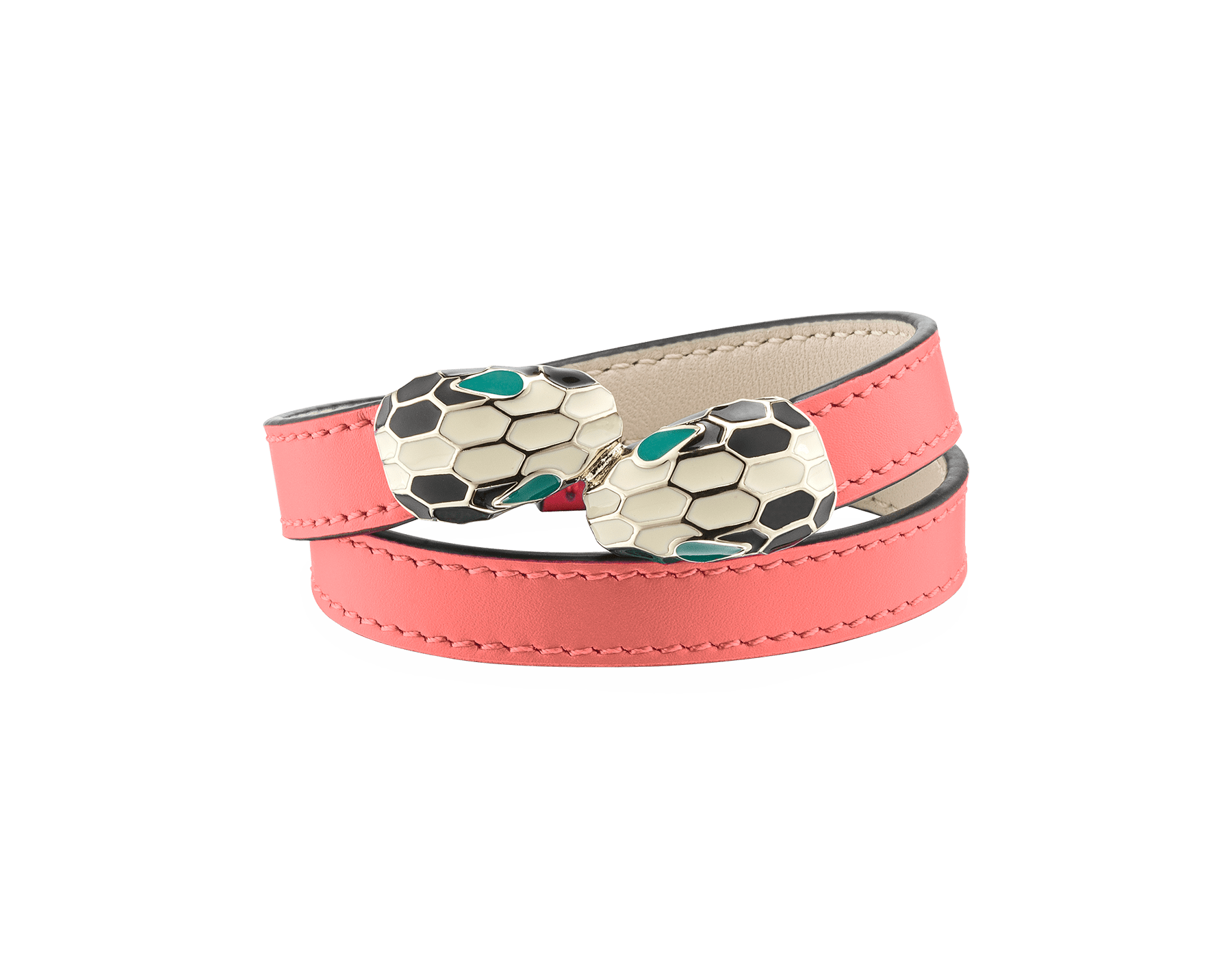 Serpenti Forever multi-coiled bracelet in silky coral calf leather, with light gold plated brass hardware. Iconic contraire snakehead décor in black and white enamel, with green enamel eyes. MCSerp-CL-SC image 1