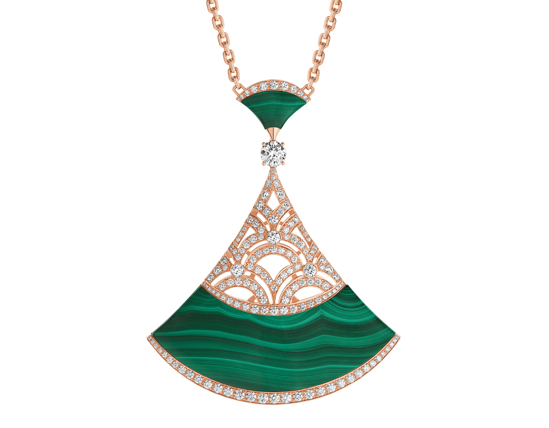 Divas' Dream necklace with 18 kt rose gold chain set with malachite beads and diamonds, and 18 kt rose gold openwork pendant set with a diamond (0.50 ct), pavé diamonds and malachite inserts. Special edition exclusive to Middle East 358222 image 1