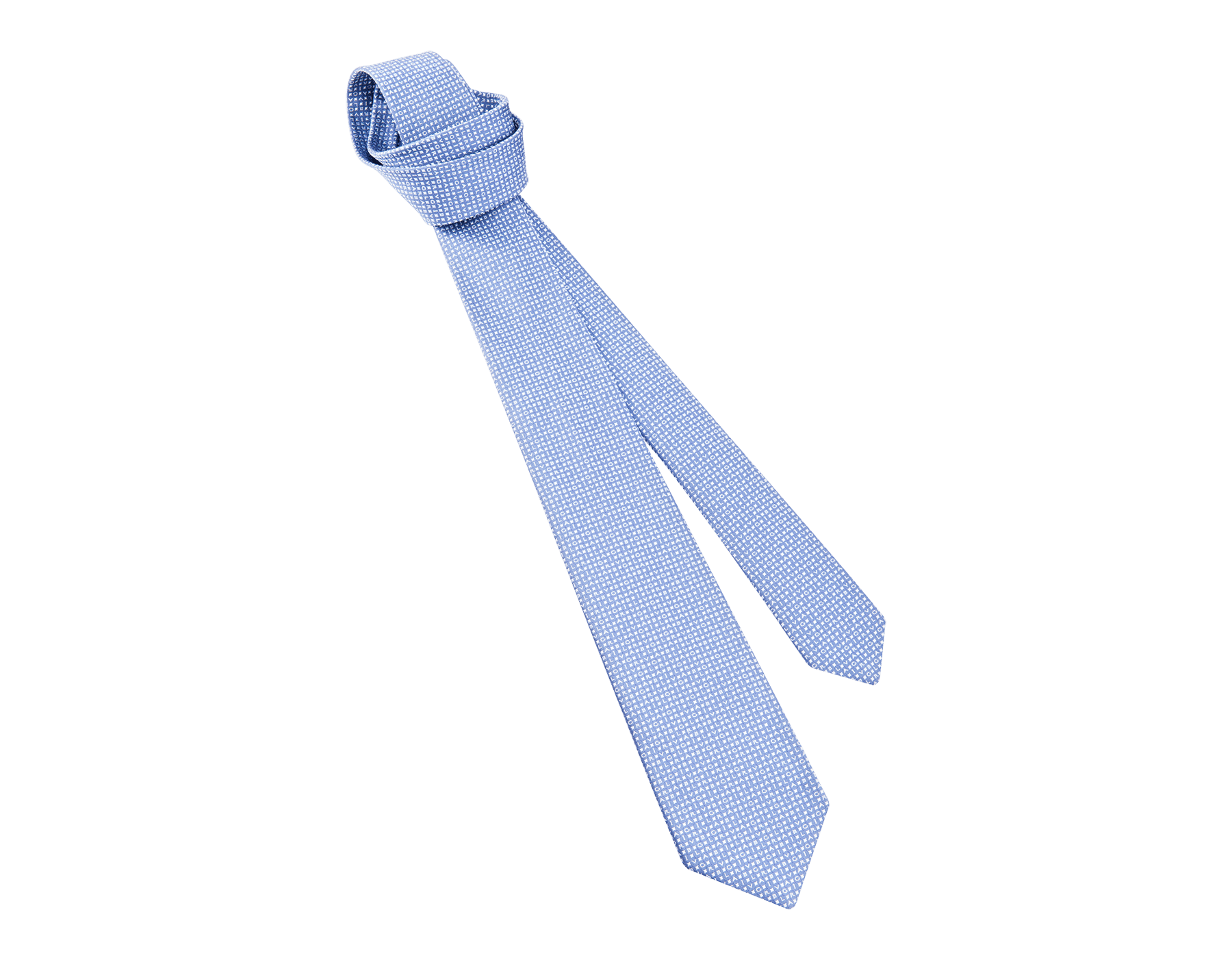 "Light blue ""Bvlgari Alphabet"" seven-folds tie in fine jacquard silk. BVLGARIALPHABET image 1"