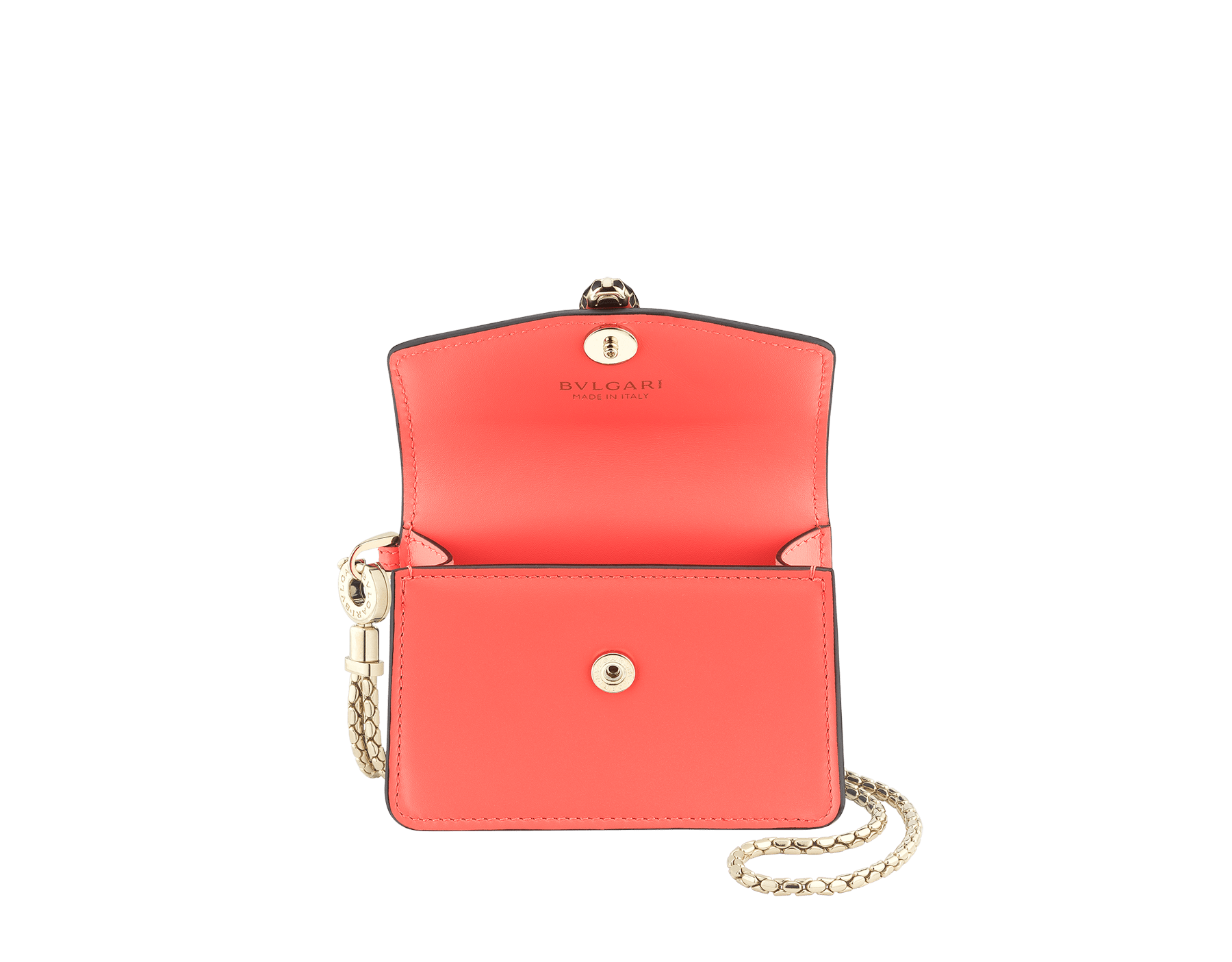 Serpenti Forever neck credit card holder in silky coral calf leather. Iconic snakehead closure in black and white enamel, with green enamel eyes. 289100 image 2