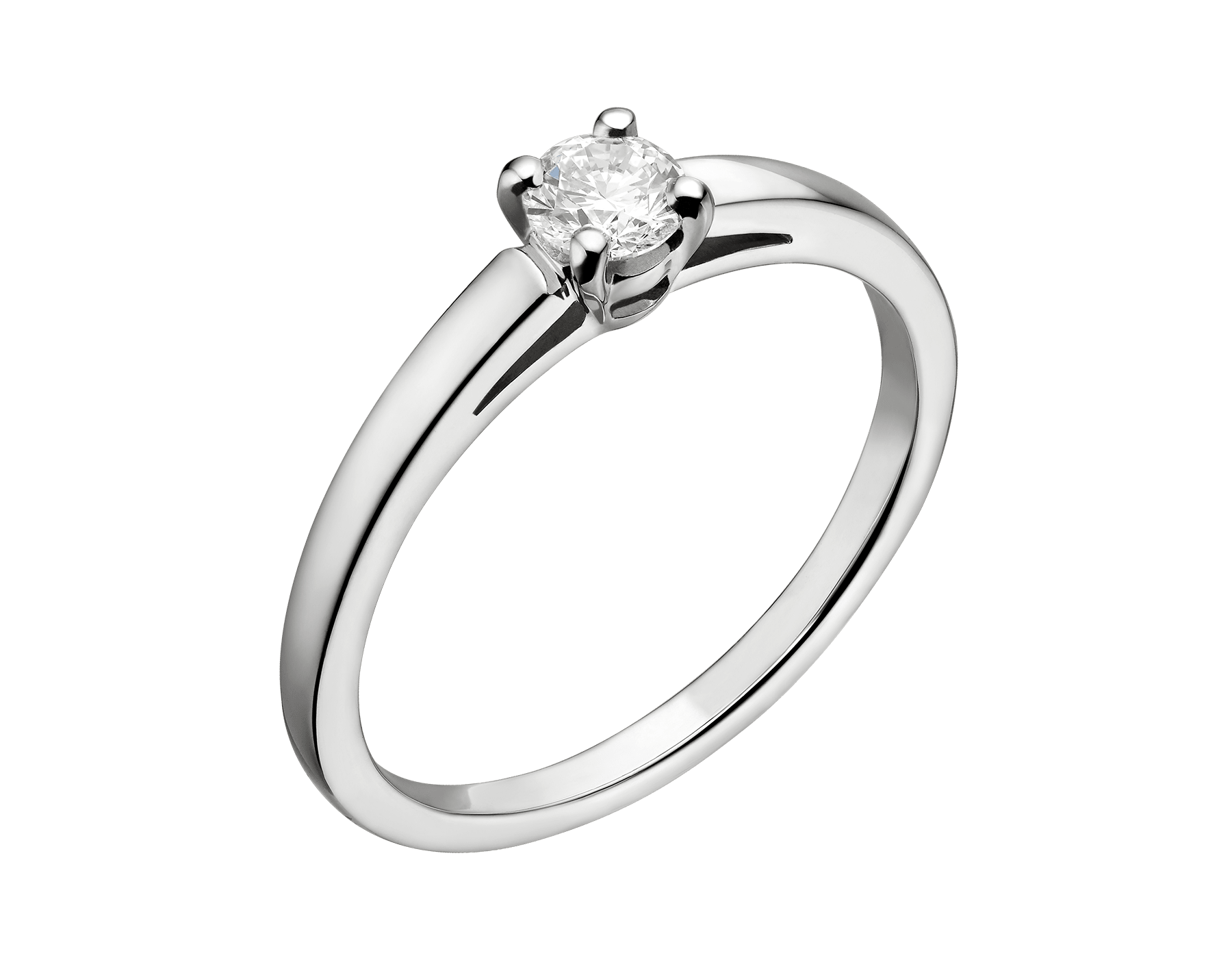 Anel solitário Griffe em platina com diamante lapidação brilhante redondo. Disponível a partir de 0,30ct. A incrustação clássica permite ao diamante solitário exprimir toda sua beleza e pureza. 327796 image 2
