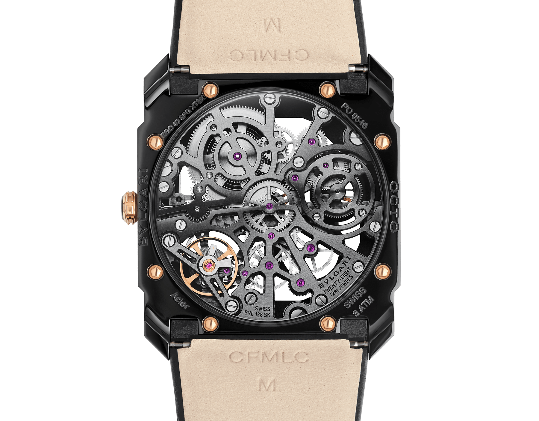 Octo Finissimo watch with extra thin mechanical skeletonized manufacture movement, manual winding, small seconds and power reserve indication, stainless steel case treated with black Diamond Like Carbon, 18 kt rose gold bezel, transparent dial and black alligator bracelet. 102469 image 4