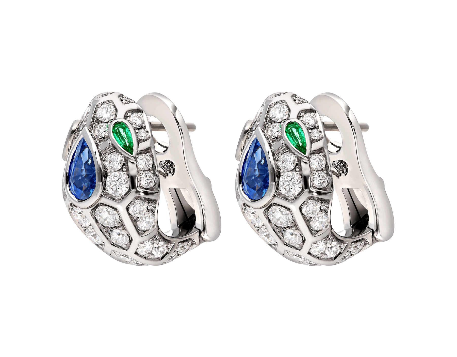 Serpenti 18 kt white gold earrings, set with a blue sapphire on the head, emerald eyes and pavé diamonds. 355355 image 2