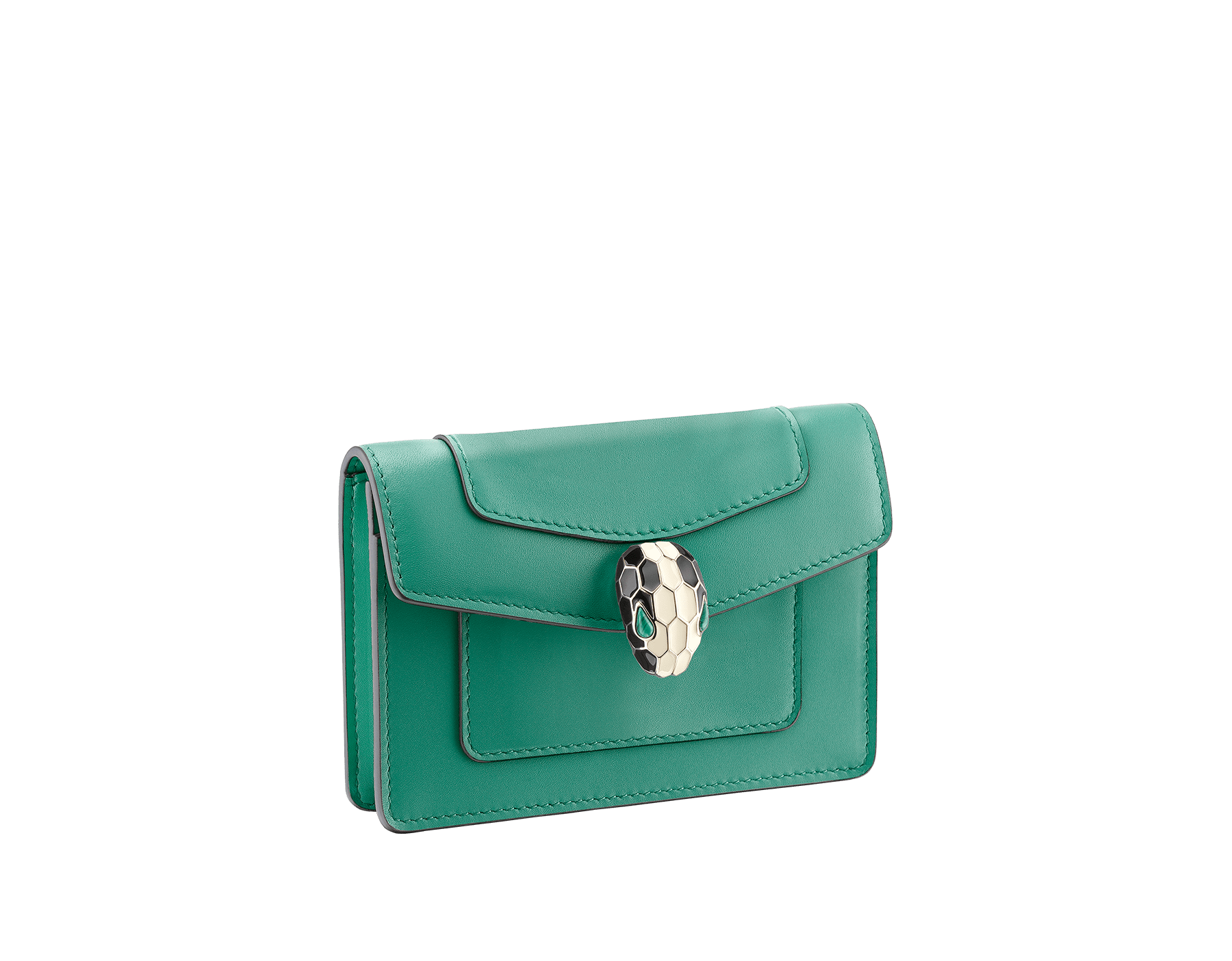 Pocket credit card holder in emerald green and violet amethyst calf leather, with amethyst purple nappa lining. Brass light gold plated Serpenti head stud closure in black and white enamel, with eyes in green malachite. 285149 image 1