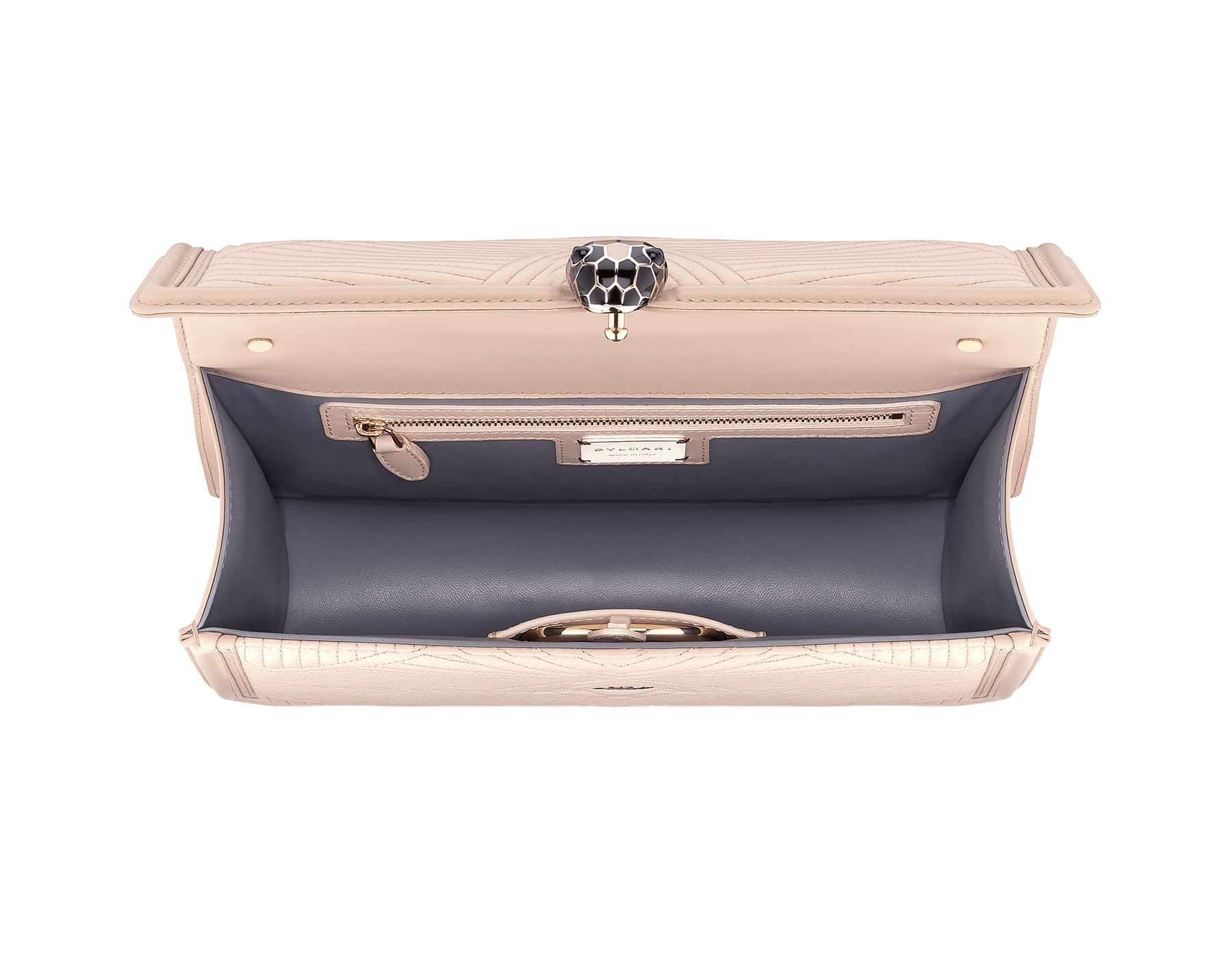"""Serpenti Diamond Blast"" shoulder bag in crystal rose quilted nappa leather body and crystal rose calf leather frames. Iconic snakehead closure in light gold plated brass enriched with black and crystal rose enamel and black onyx eyes 287387 image 4"