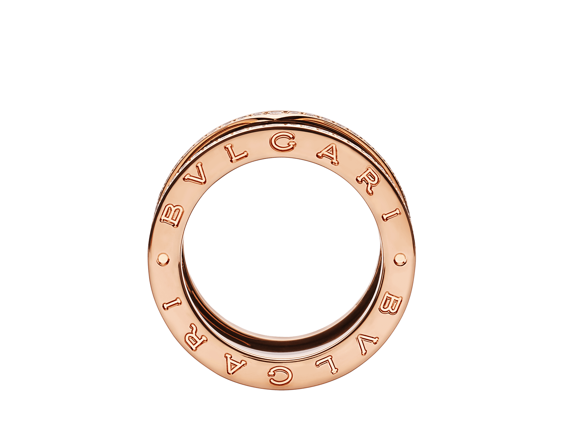 B.zero1 four-band ring with two 18 kt rose gold loops set with pavé diamonds on the edges and a black ceramic spiral. B-zero1-4-bands-AN857029 image 2
