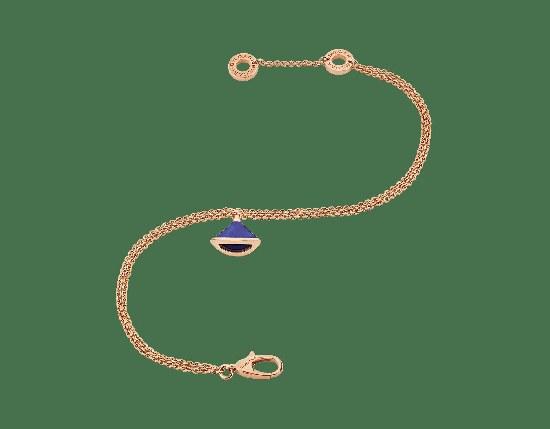 DIVAS' DREAM bracelet in 18 kt rose gold with pendant set with lapis lazuli. BR857290 image 2