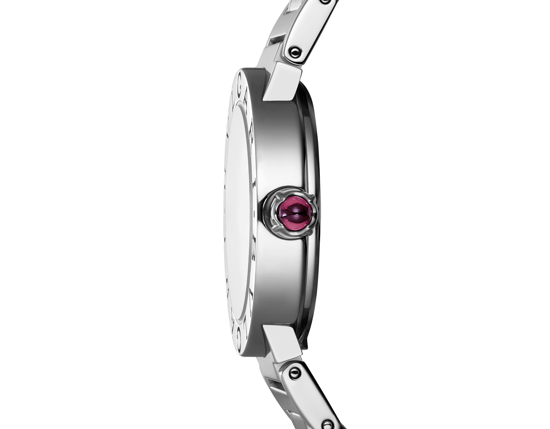 BVLGARI BVLGARI watch in stainless steel case and bracelet, with purple satiné soleil lacquered dial and diamond indexes 102606 image 3