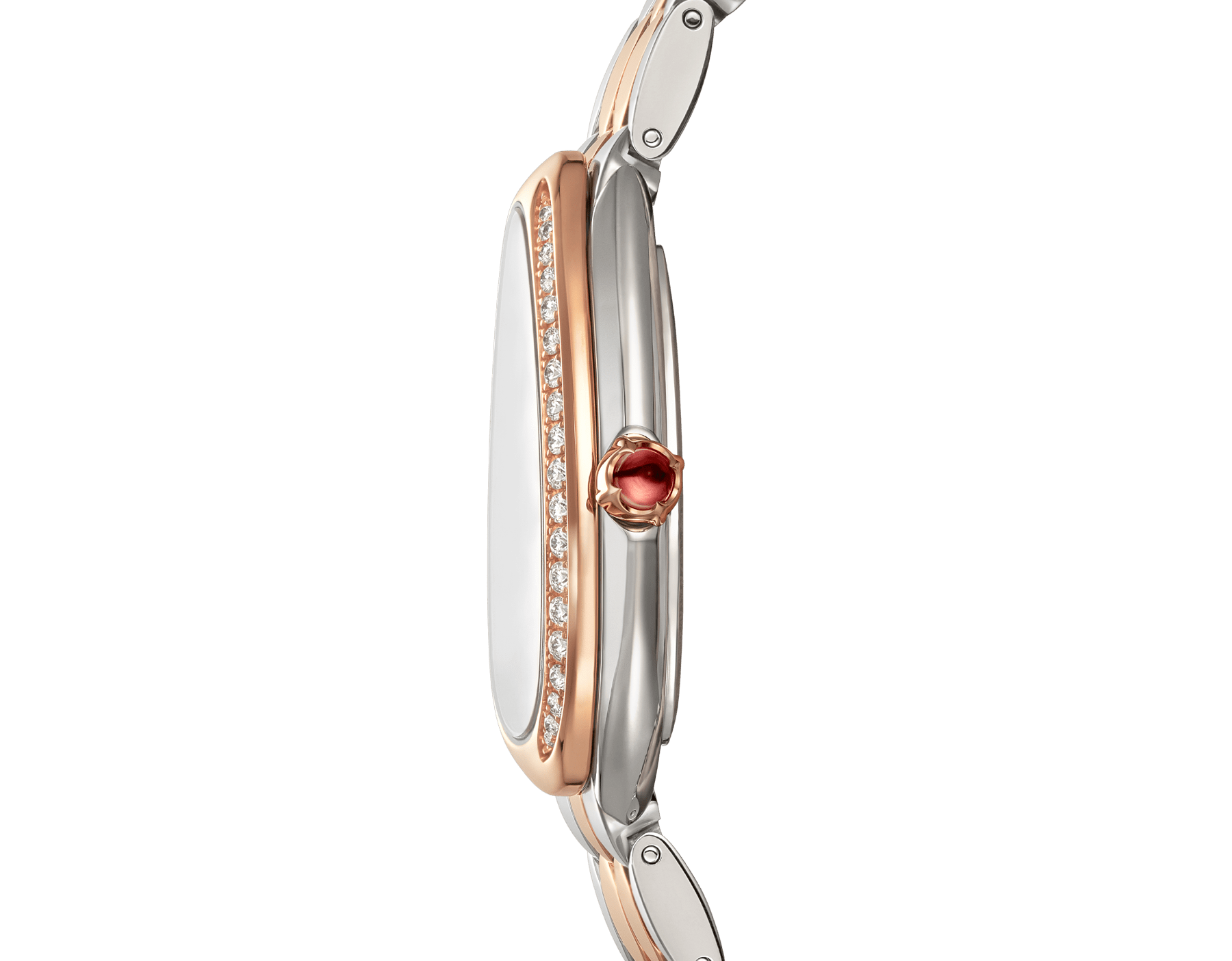Serpenti Seduttori watch with stainless steel case, 18 kt rose gold bezel set with diamonds, white dial, and 18 kt rose gold and stainless steel bracelet 103274 image 3
