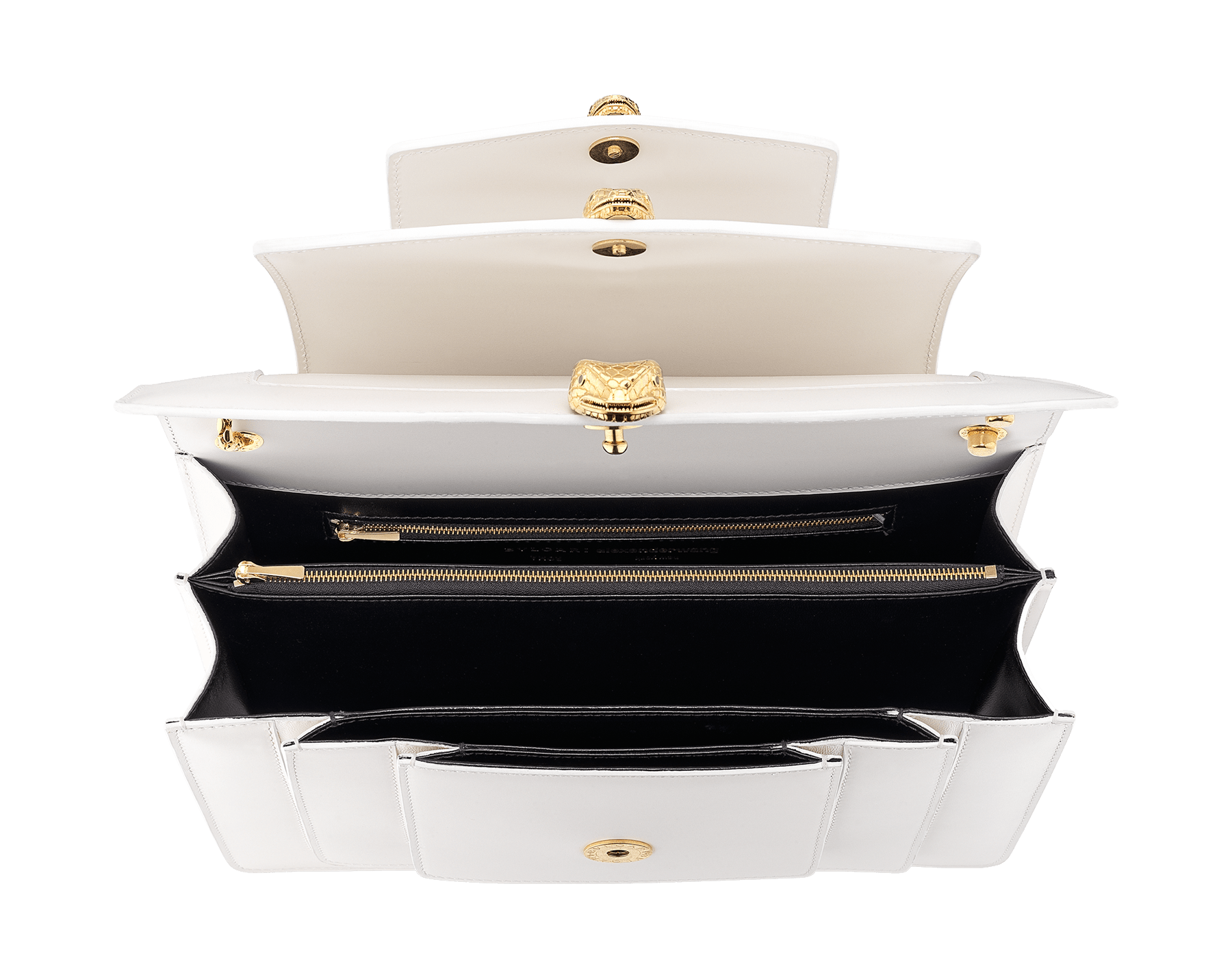 Alexander Wang x Bvlgari Triplette shoulder bag in smooth white calf leather. New triple Serpenti head closure in antique gold plated brass with tempting red enamel eyes. Limited edition. 288744 image 4