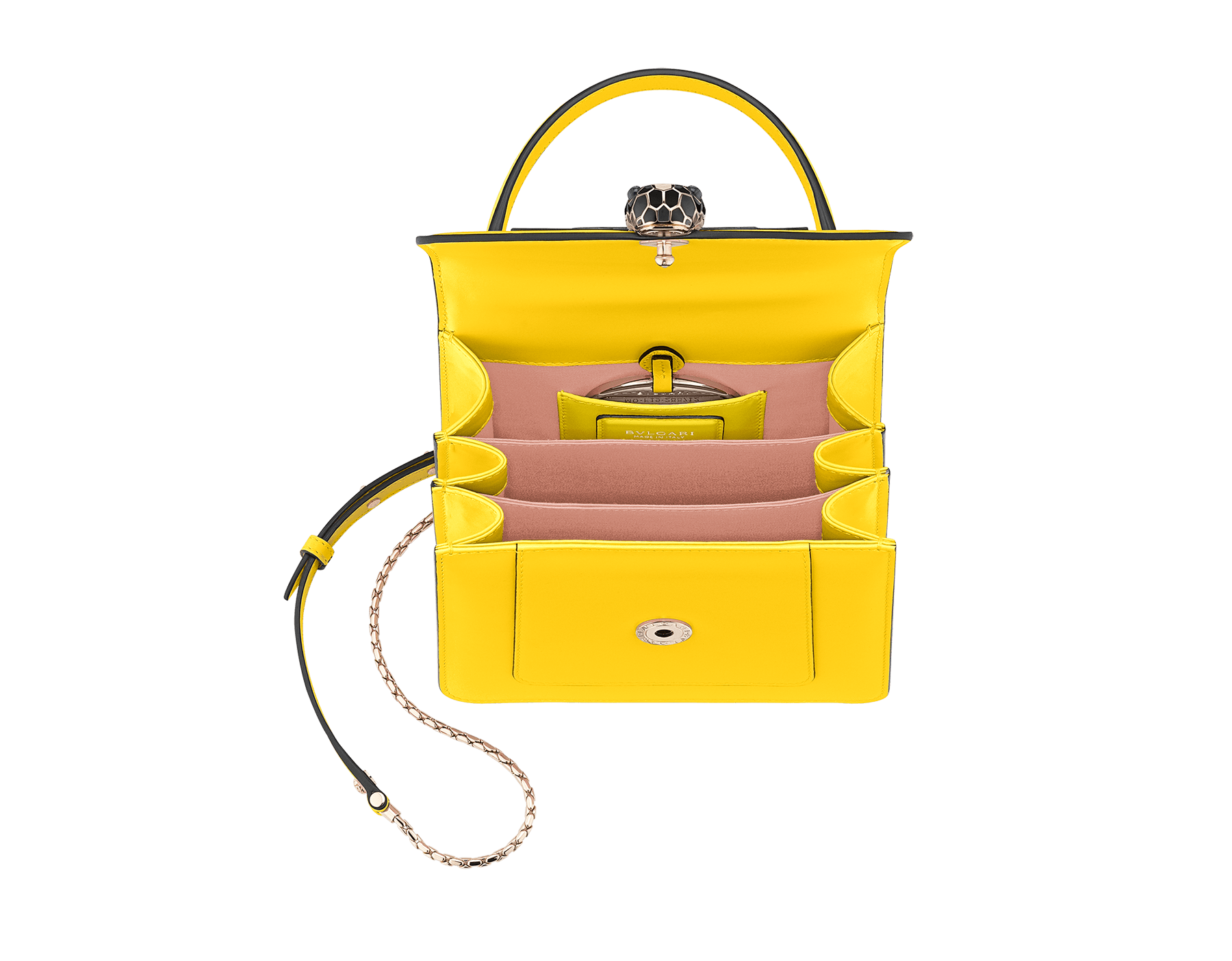 """Serpenti Forever "" crossbody bag in daisy topaz calf leather. Iconic snake head closure in light gold plated brass enriched with black and white agate enamel and green malachite eyes. 289660 image 3"