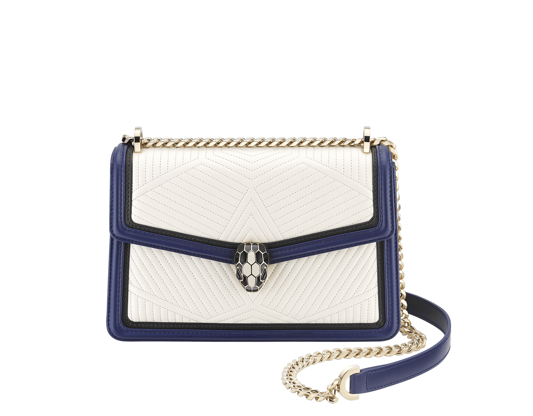 """Serpenti Diamond Blast"" shoulder bag in quilted, agate-white nappa leather with Royal Sapphire blue and black calfskin edging and Royal Sapphire blue nappa leather inner lining. Iconic snakehead closure in light gold-plated brass embellished with black and agate-white enamel and black onyx eyes. 922-FQDb image 1"