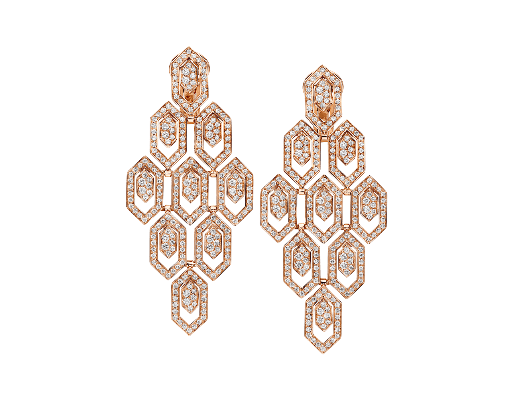 Serpenti 18 kt rose gold earrings set with pavé diamonds. 356507 image 1