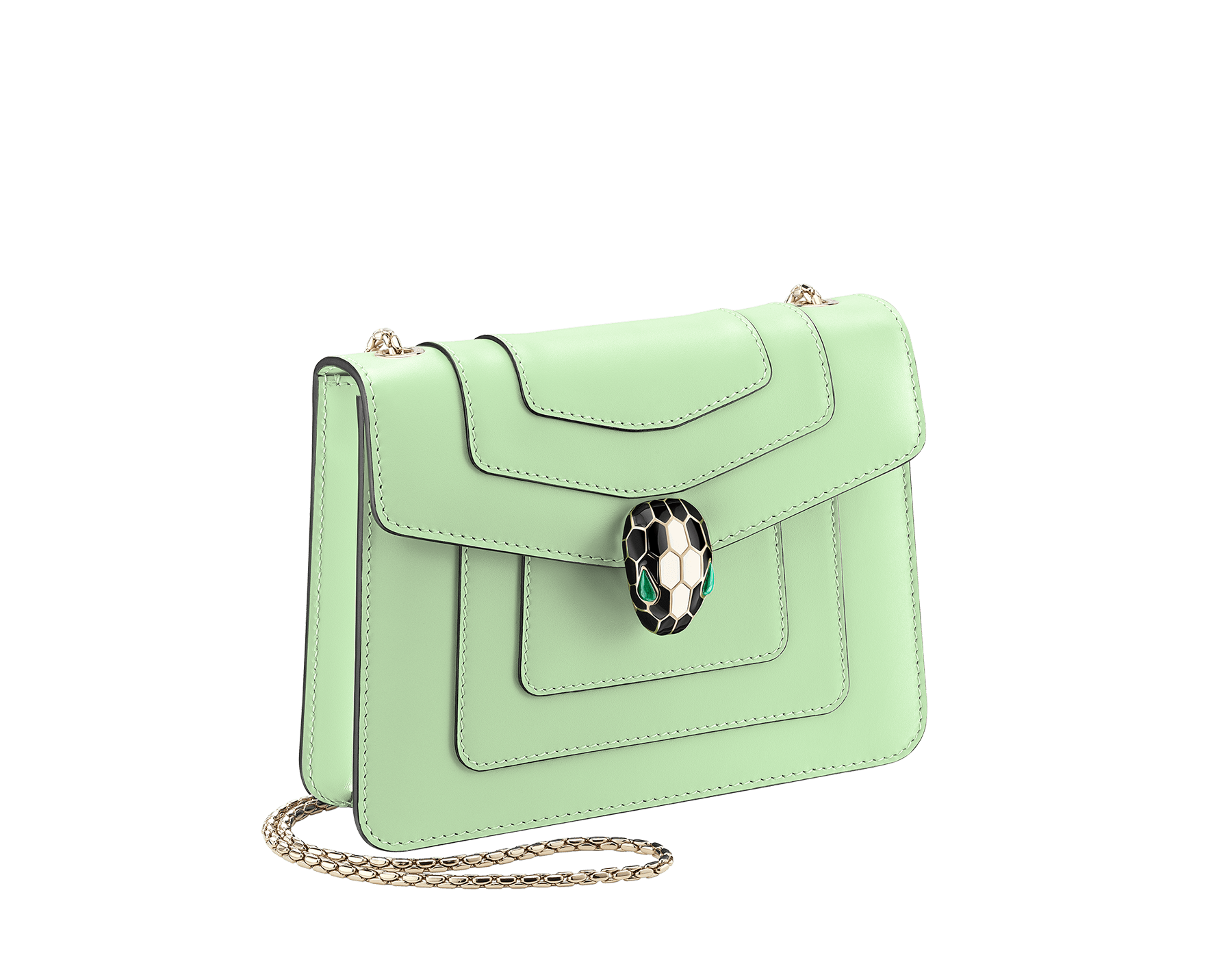 """Serpenti Forever"" crossbody bag in mint calf leather. Iconic snakehead closure in light gold plated brass enriched with black and white agate enamel, and green malachite eyes. 422-CLd image 2"
