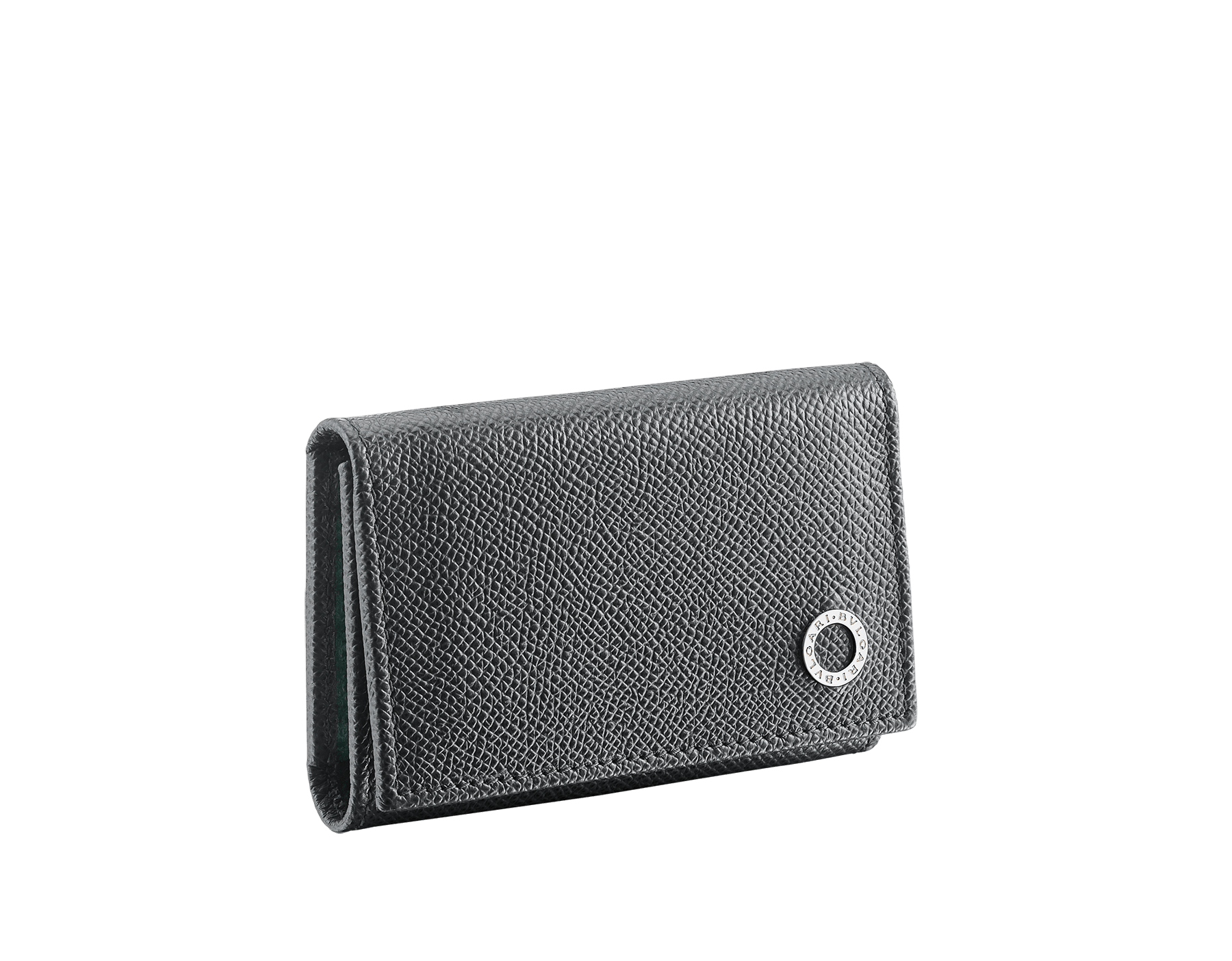 BVLGARI BVLGARI double keyholder in charcoal diamond and emerald green grain calf leather. Detachable car keyholder in palladium plated brass. 289132 image 1