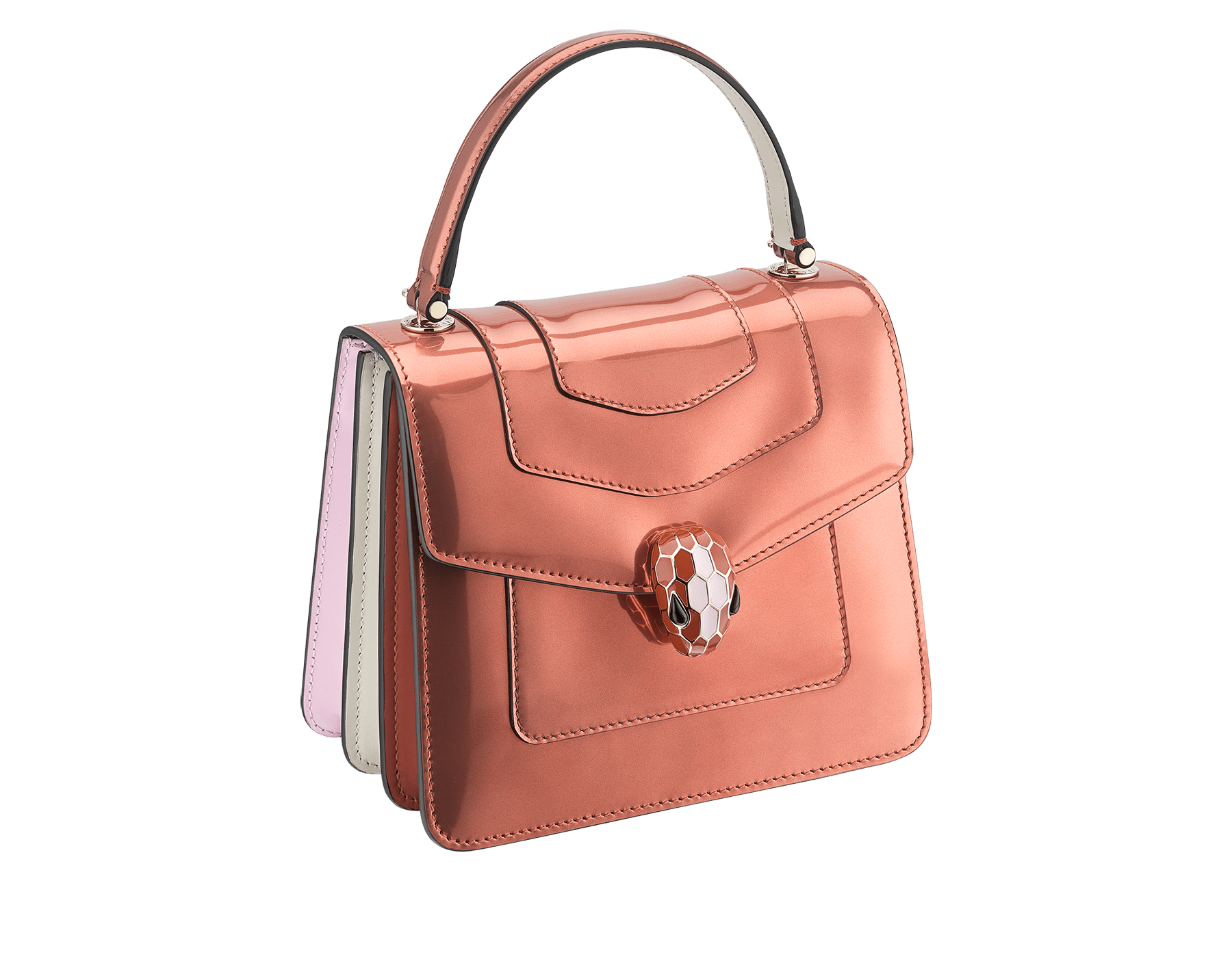 Serpenti Forever crossbody bag in imperial topaz brushed metallic calf leather with Roman garnet, rosa di francia and white agate calf leather sides. Iconic snakehead closure in light gold plated brass embellished with imperial topaz and white enamel and black onyx eyes. 752-NBMCL image 2