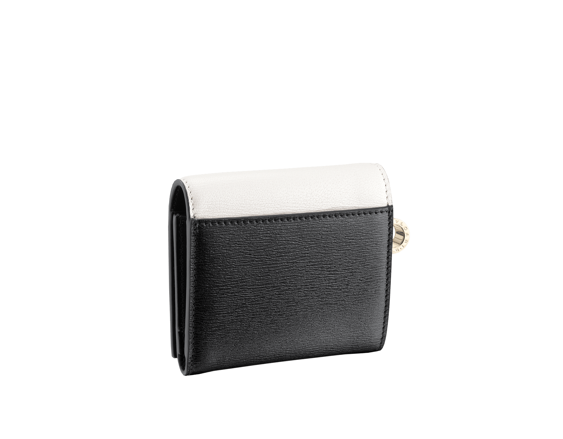 B.zero1 super compact wallet in white and black goatskin. Iconic B.zero1 charm in light gold plated brass. BZA-SUPERCOMPACT image 3