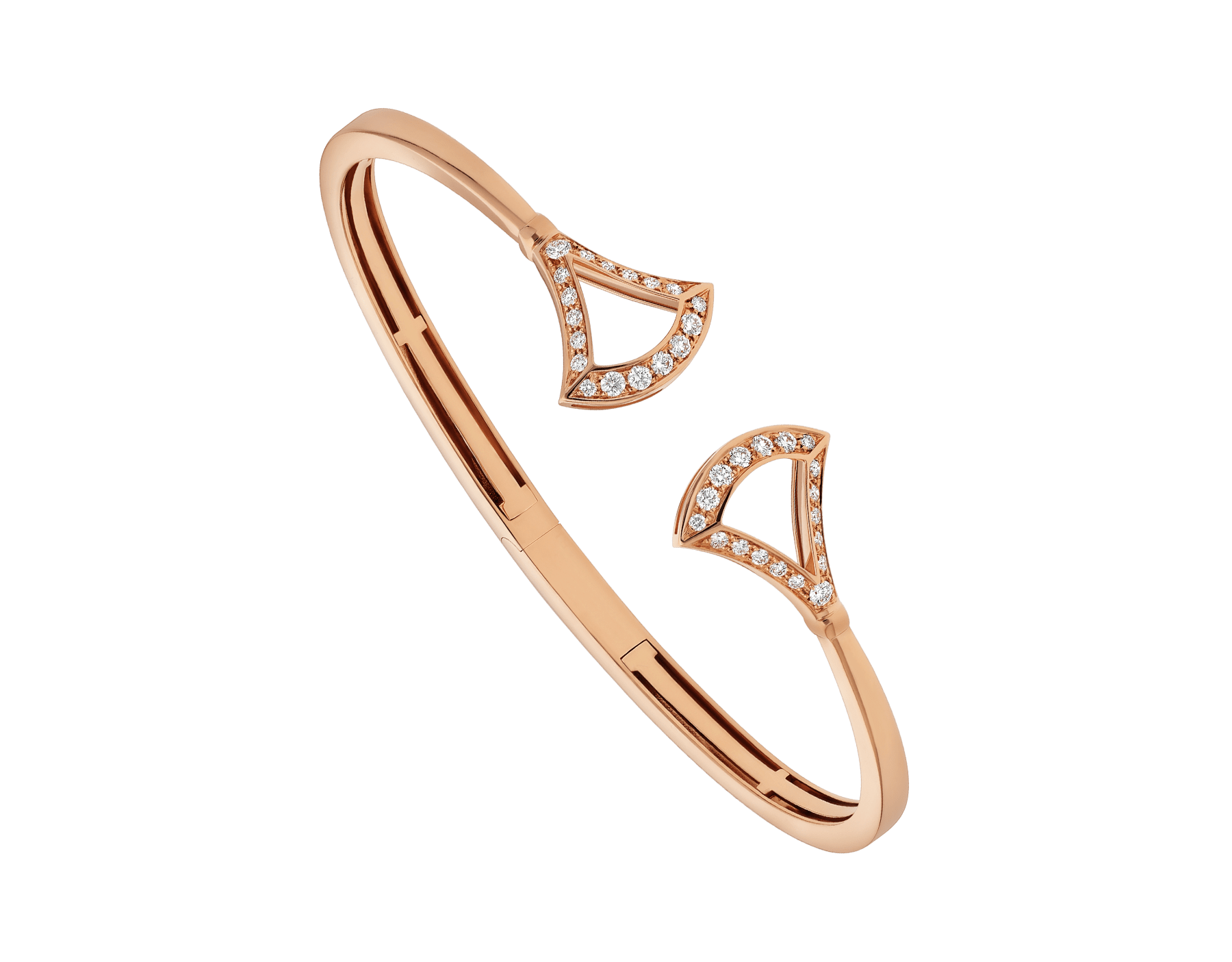 DIVAS' DREAM openwork 18 kt rose gold bracelet set with pavé diamonds. BR858387 image 1