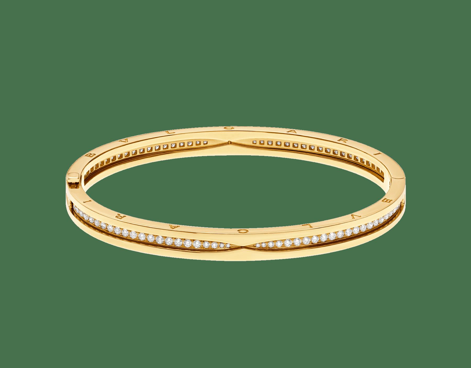 B.zero1 18 kt yellow gold bracelet set with pavé diamonds on the spiral BR859002 image 2
