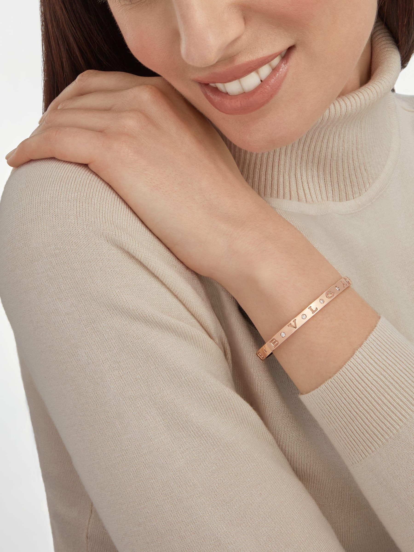 BVLGARI BVLGARI 18 kt rose gold bangle bracelet set with twelve diamonds. BR858007 image 3