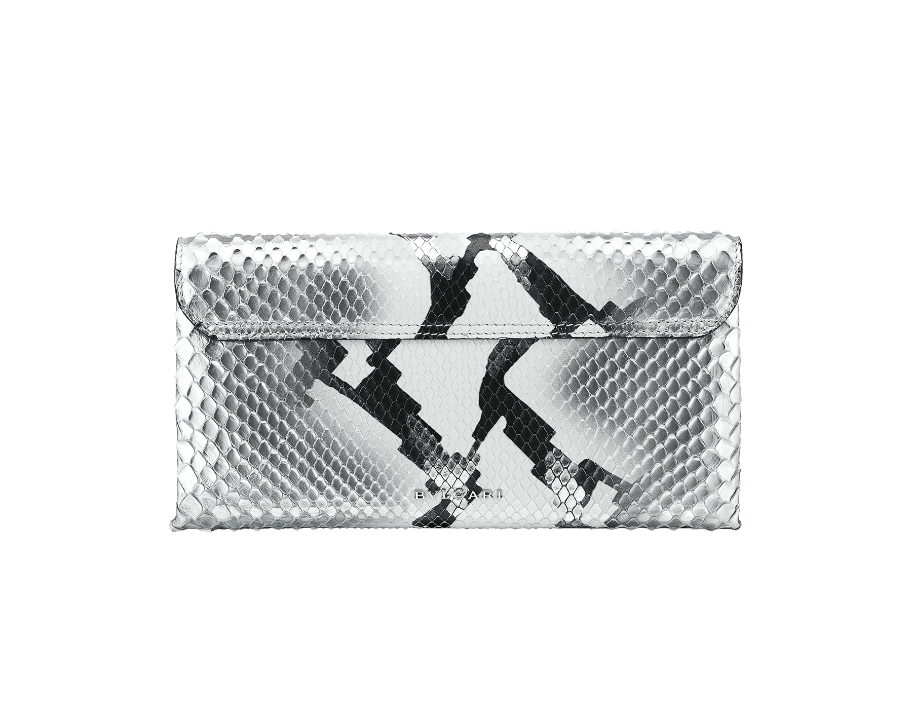 """Serpenti"" evening clutch bag in white and silver Ice Glam python skin. Iconic snake head stud closure with tassel in palladium plated brass enriched with black shiny enamel and black onyx eyes. 288976 image 3"